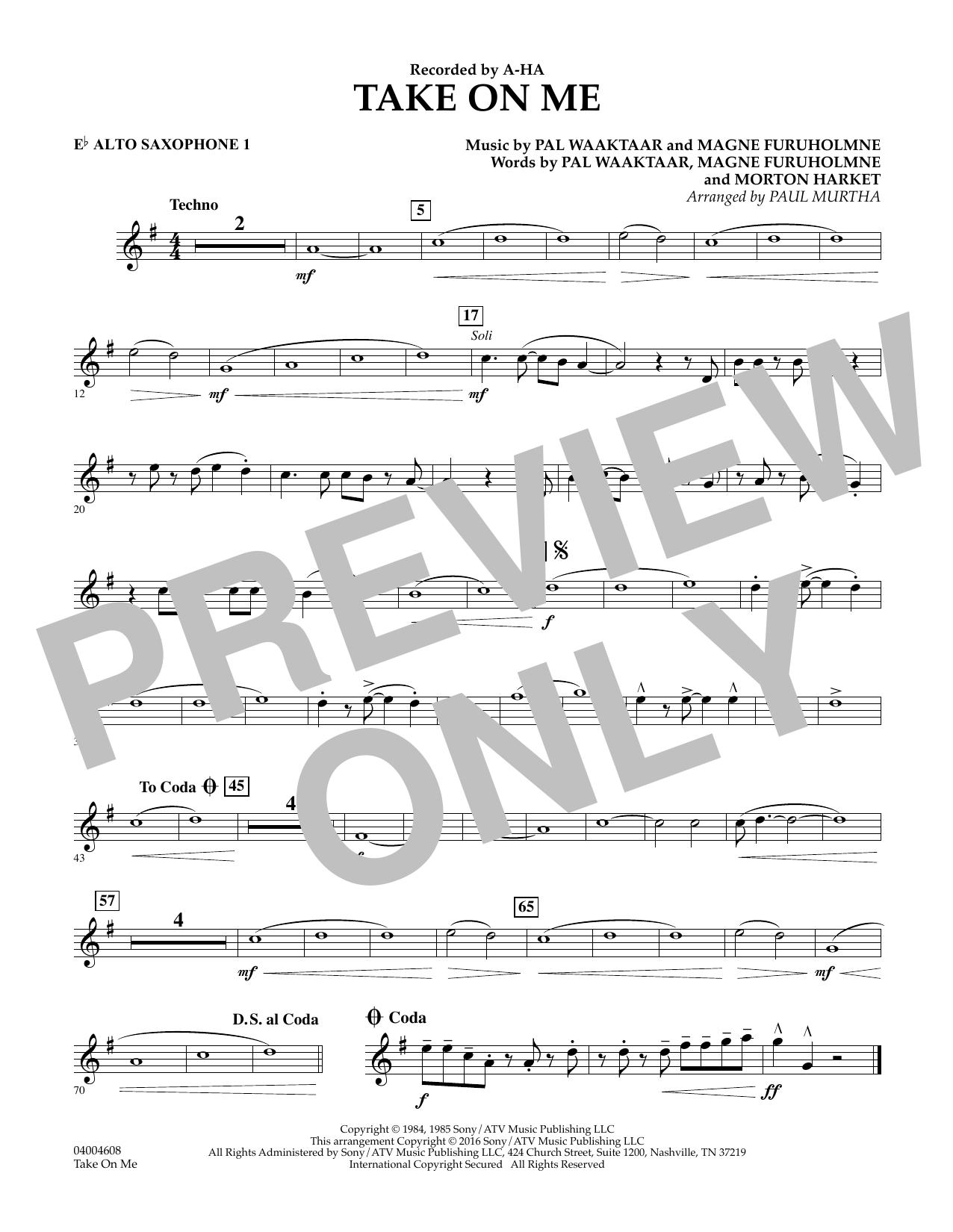 Take on Me - Eb Alto Saxophone 1 (Concert Band)