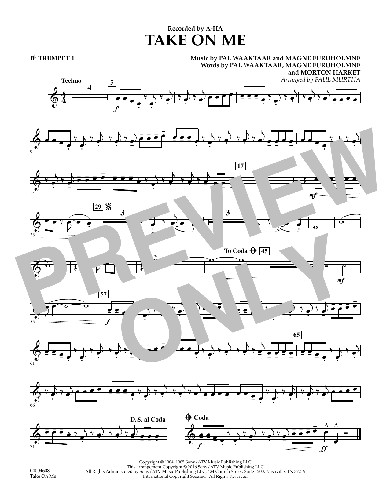 Take on Me - Bb Trumpet 1 (Concert Band)