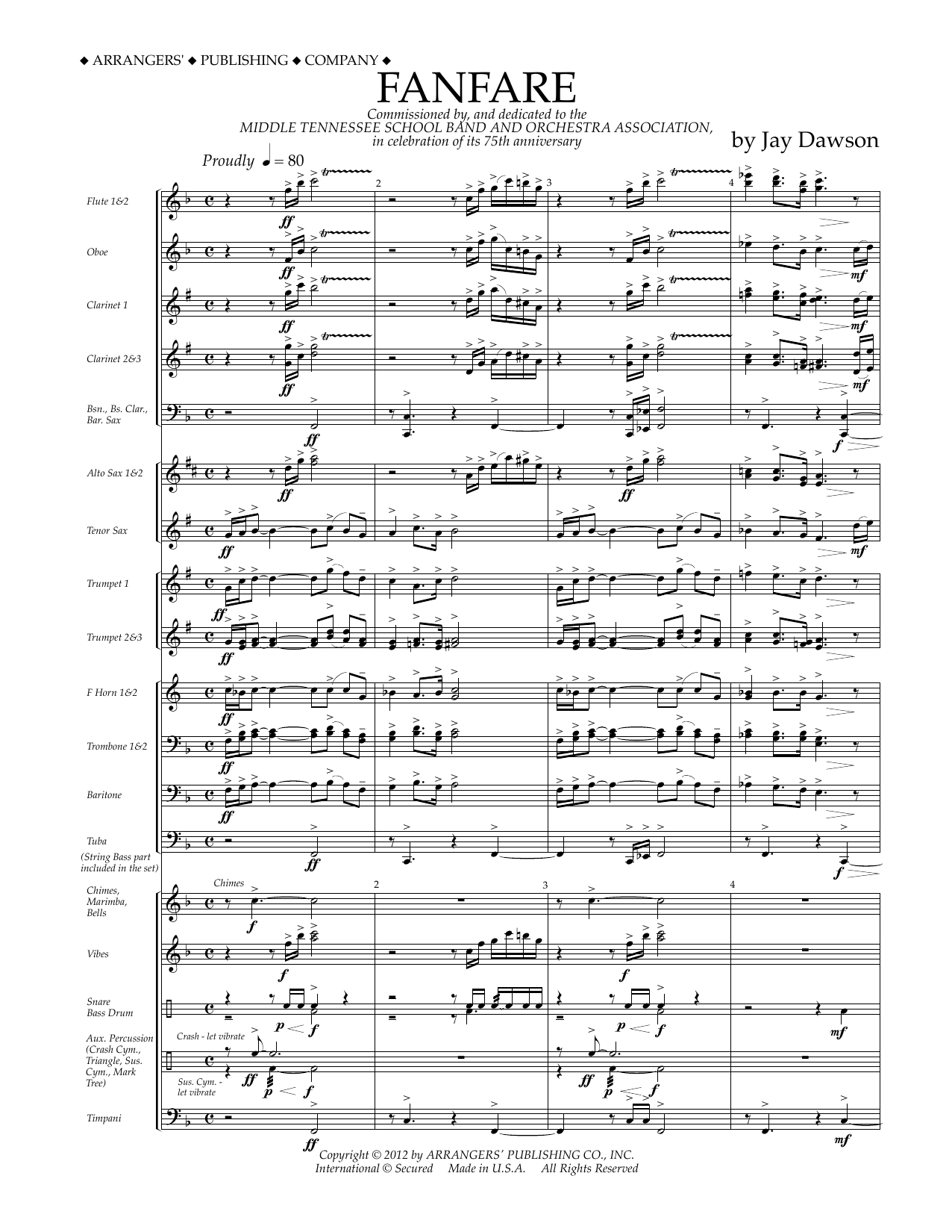 Fanfare (COMPLETE) sheet music for concert band by Jay Dawson. Score Image Preview.