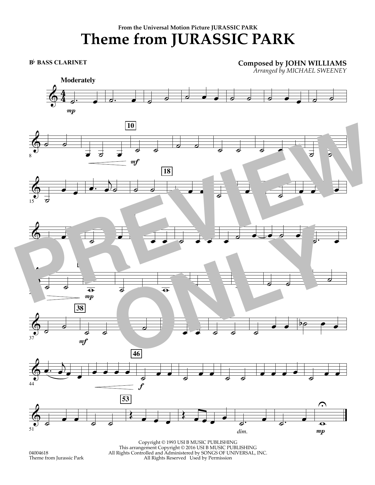 Theme from Jurassic Park - Bb Bass Clarinet (Concert Band)
