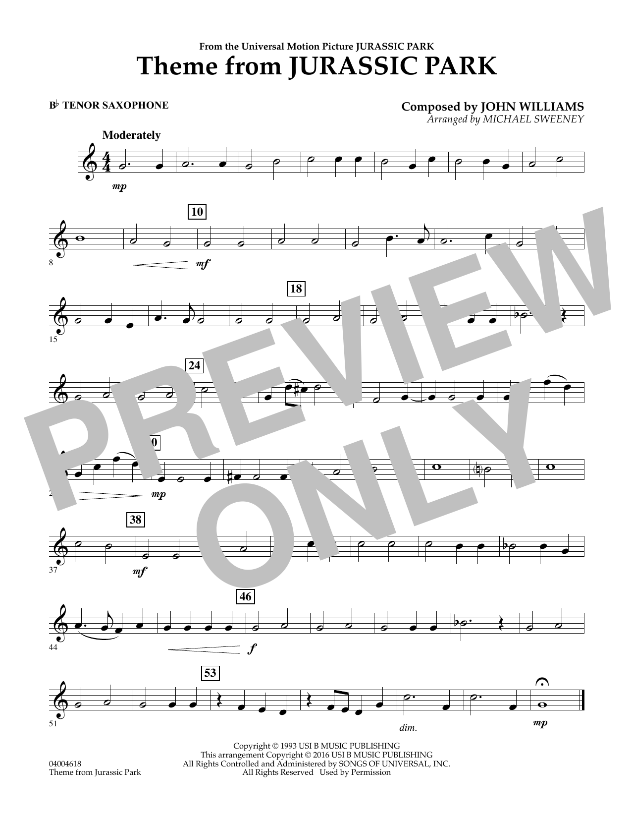 Theme from Jurassic Park - Bb Tenor Saxophone (Concert Band)