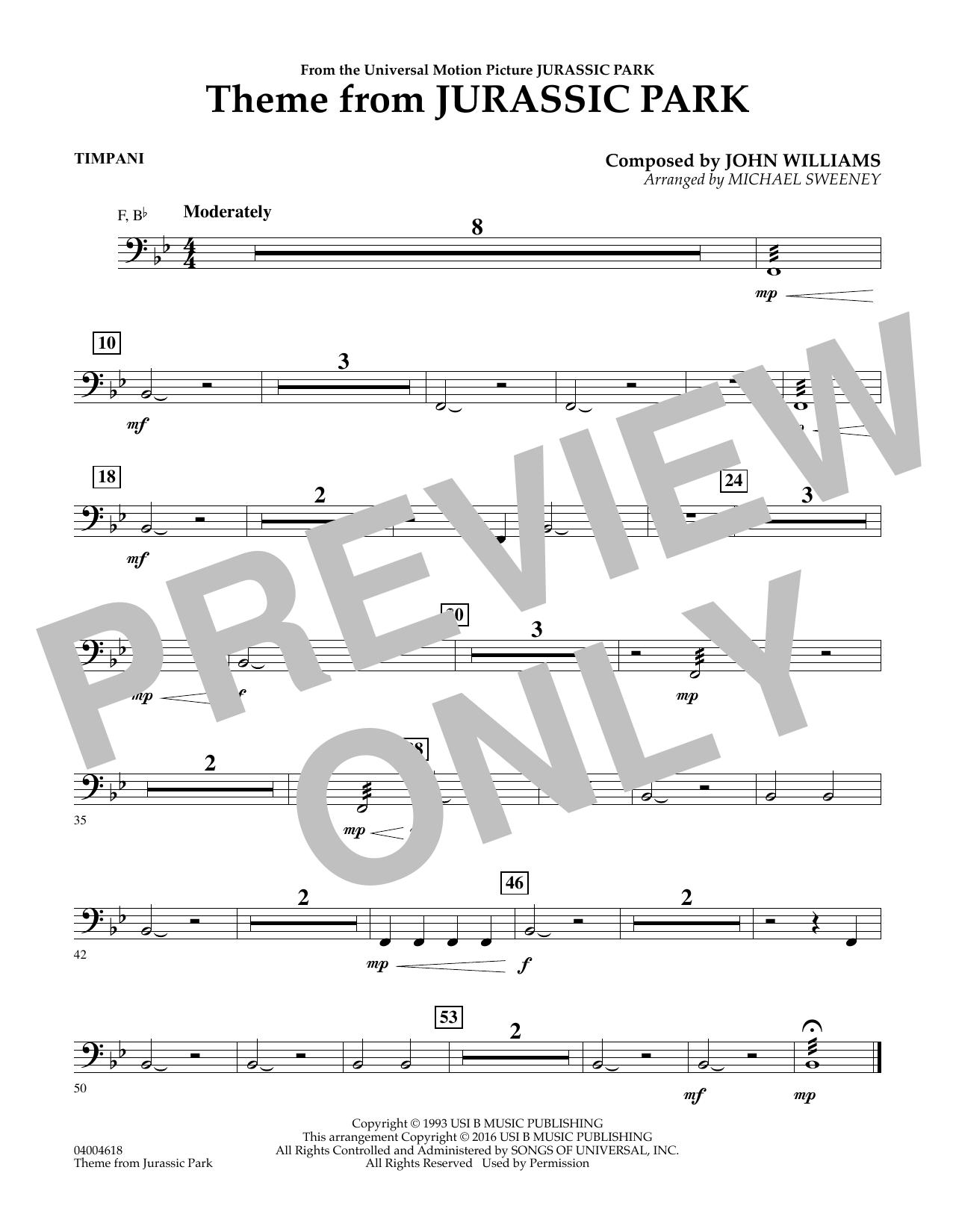 Theme from Jurassic Park - Timpani (Concert Band)