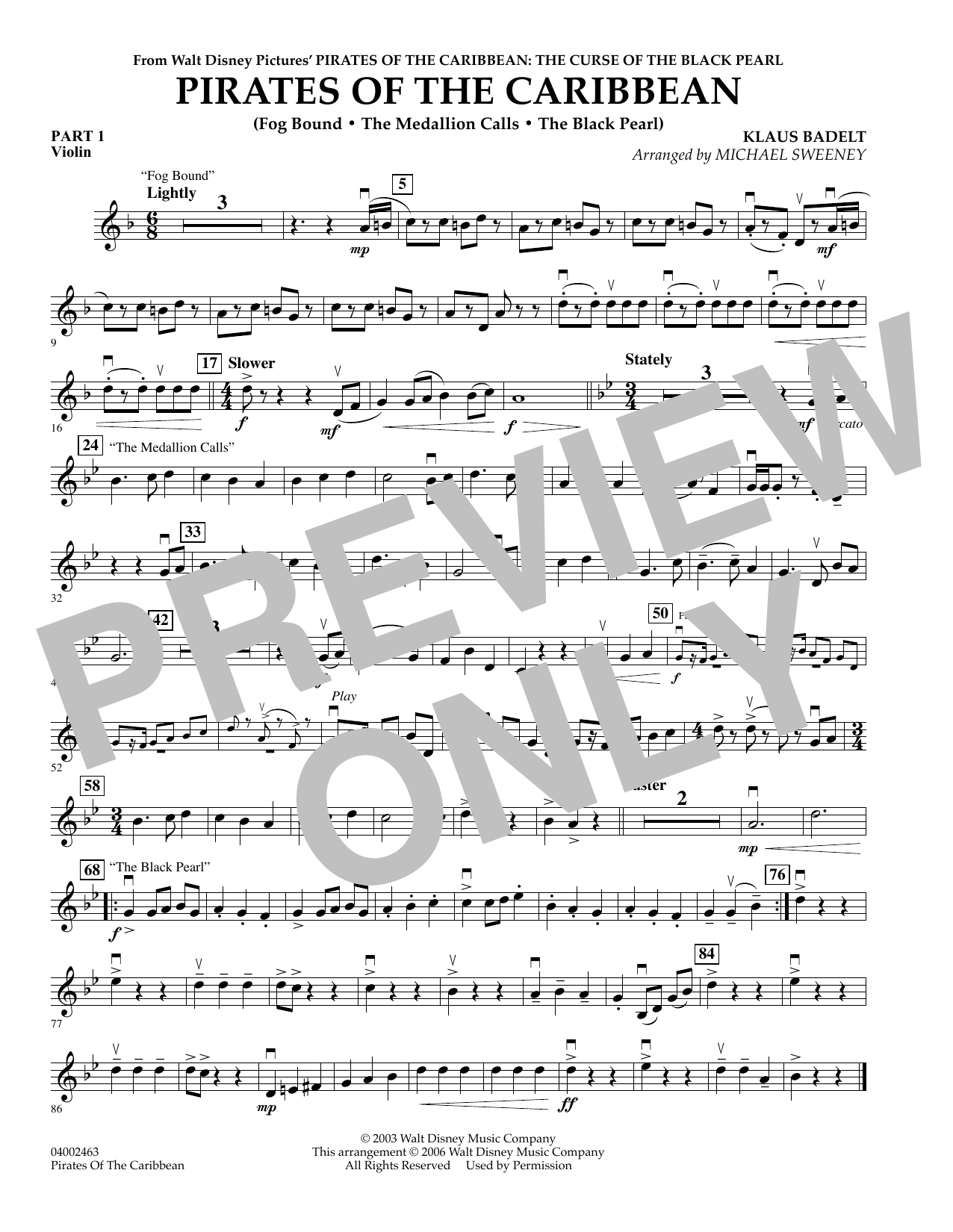 Pirates Of The Caribbean (Flex-Band) - Pt.1 - Violin (Concert Band)