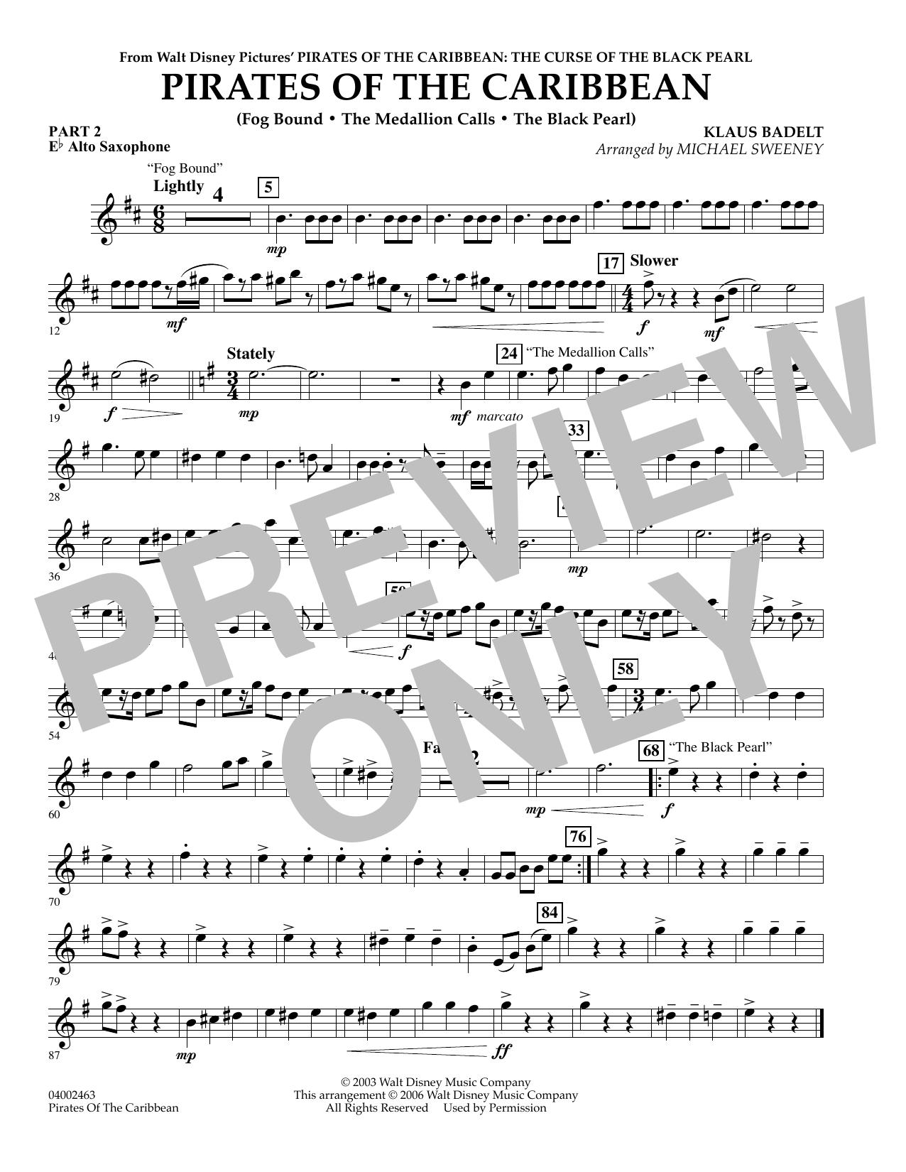 Pirates Of The Caribbean (Flex-Band) - Pt.2 - Eb Alto Saxophone (Concert Band)