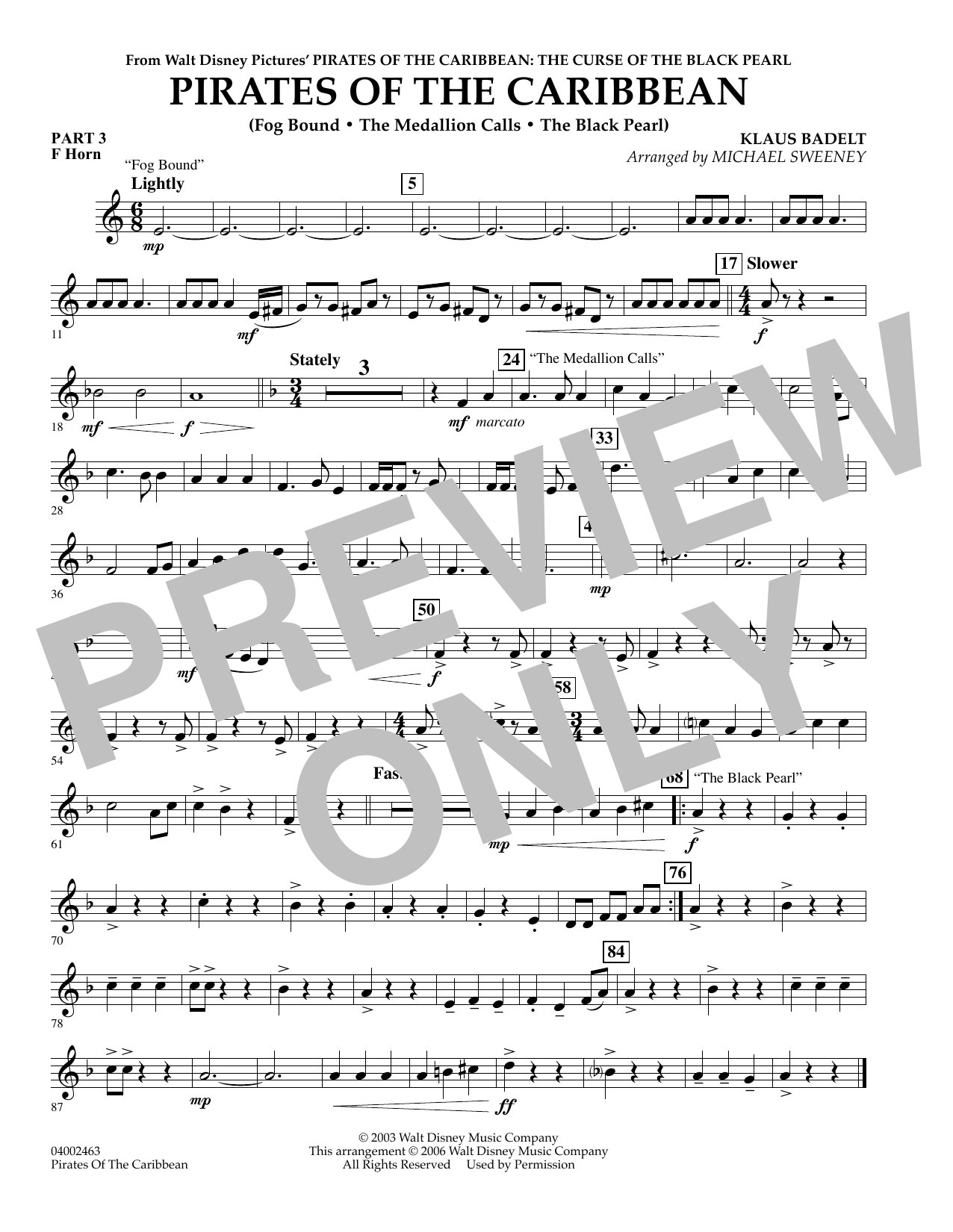 Pirates Of The Caribbean (Flex-Band) - Pt.3 - F Horn (Concert Band)
