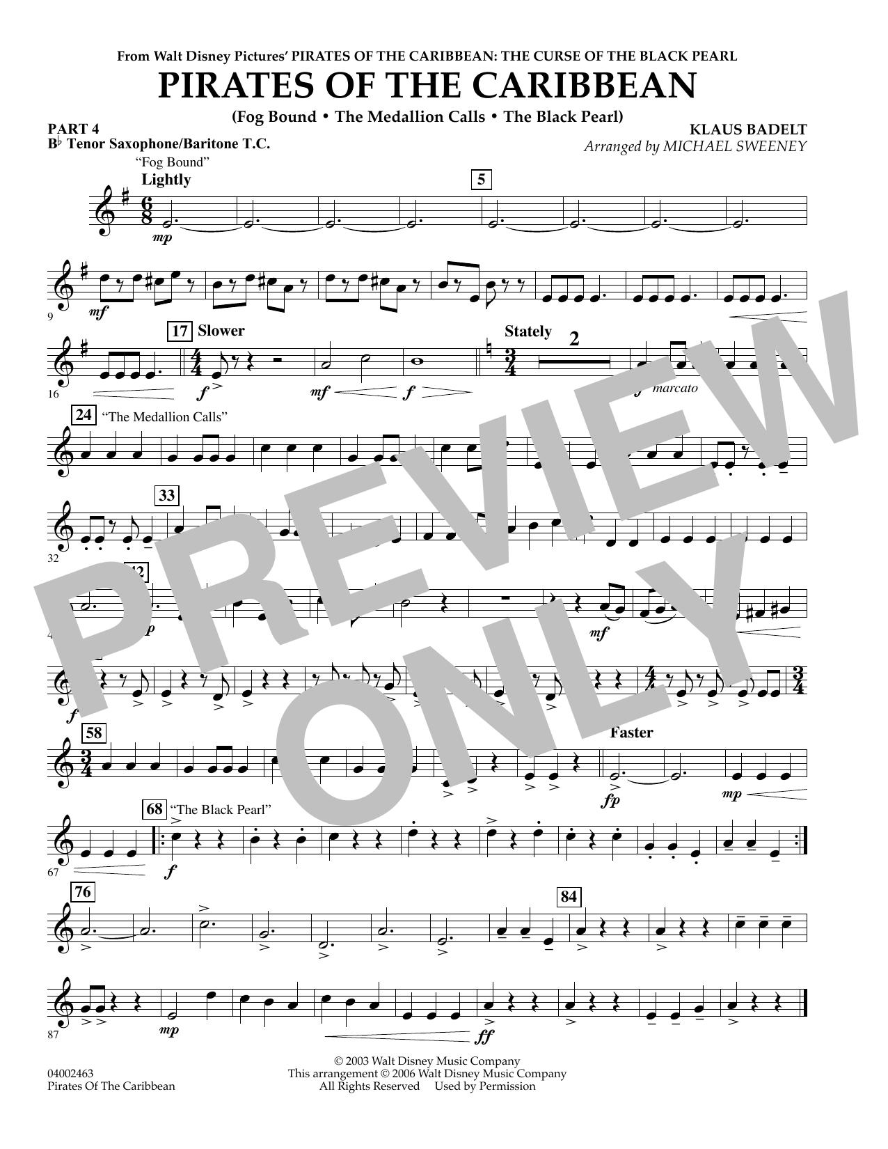 Pirates Of The Caribbean (Flex-Band) - Pt.4 - Bb Tenor Sax/Bar. T.C. (Concert Band)