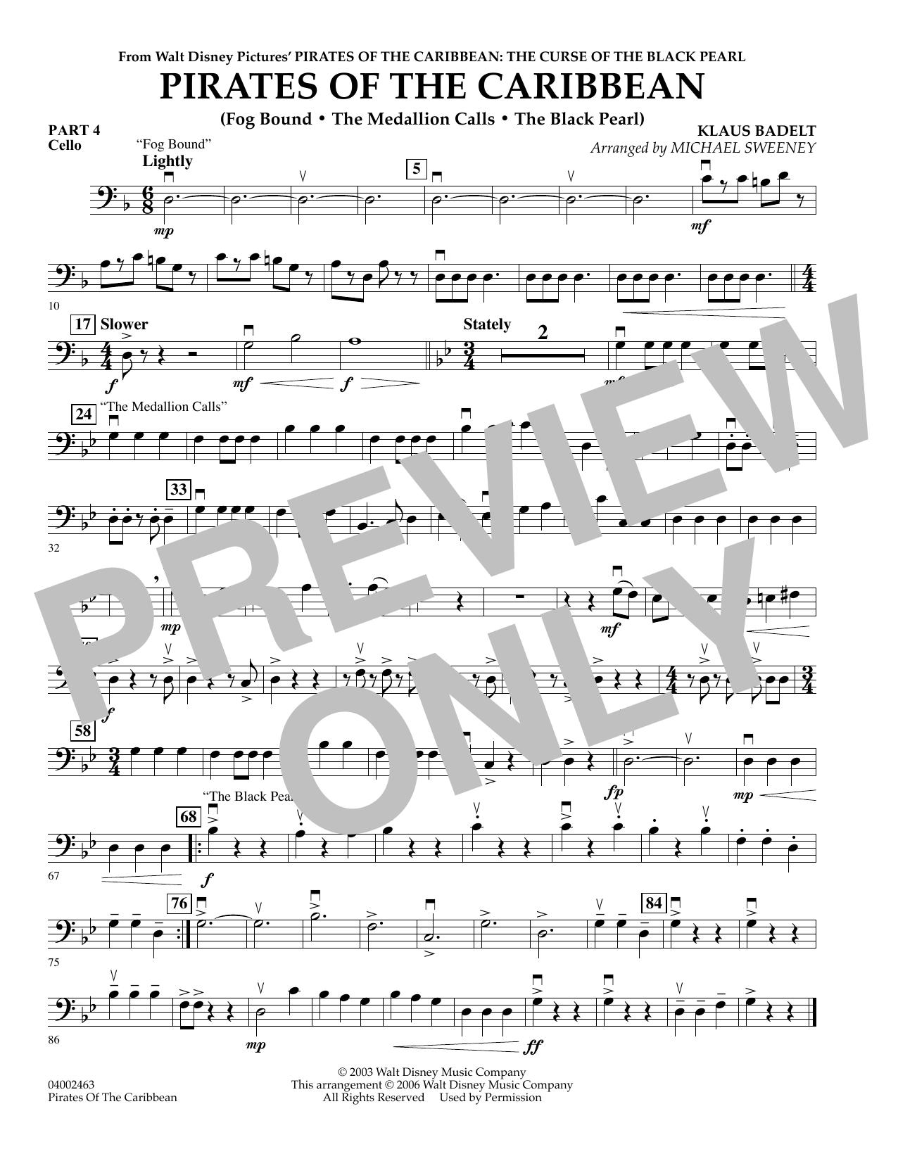 Pirates Of The Caribbean (Flex-Band) - Pt.4 - Cello (Concert Band)