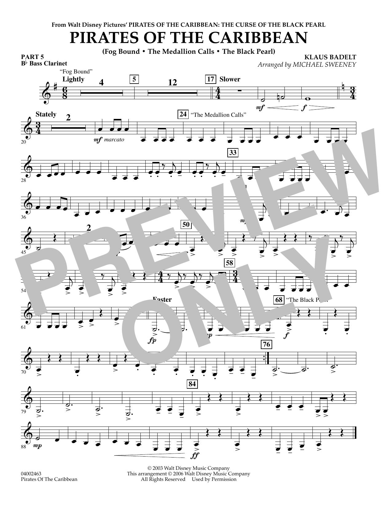 Pirates Of The Caribbean (Flex-Band) - Pt.5 - Bb Bass Clarinet (Concert Band)
