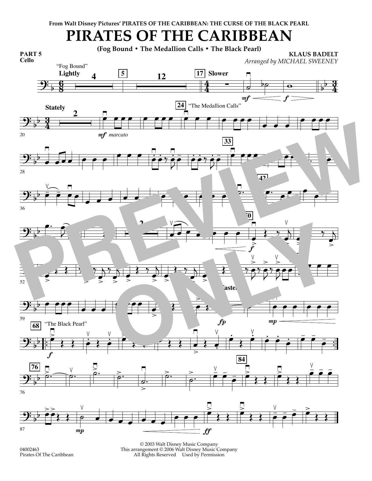 Pirates Of The Caribbean (Flex-Band) - Pt.5 - Cello (Concert Band)