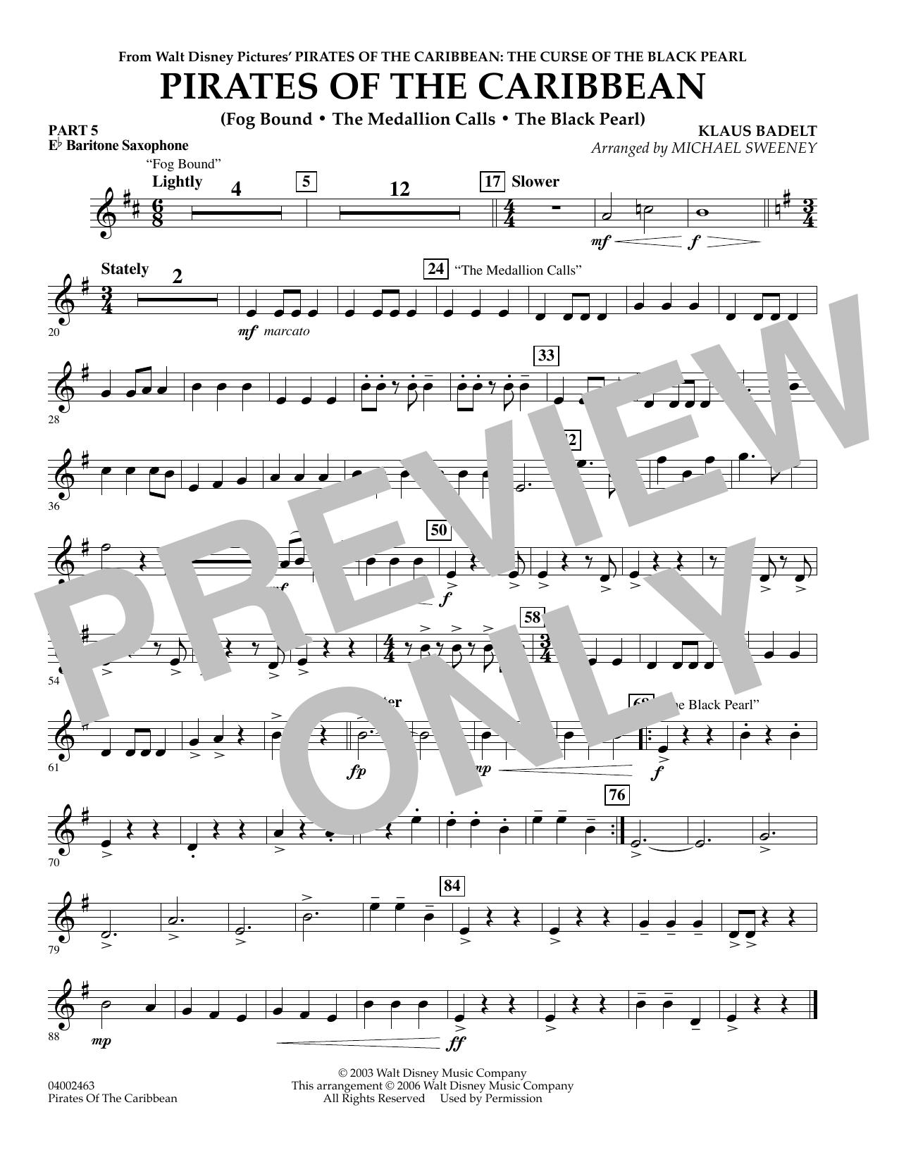 Pirates Of The Caribbean (Flex-Band) - Pt.5 - Eb Baritone Saxophone (Concert Band)