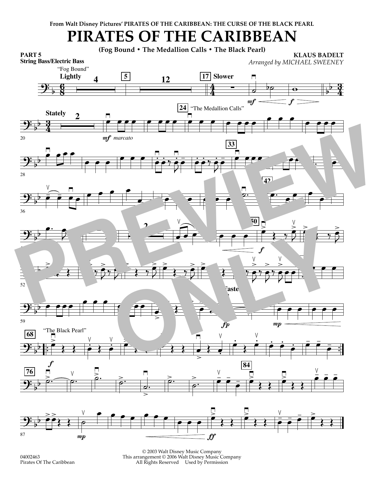 Pirates Of The Caribbean (Flex-Band) - Pt.5 - String/Electric Bass (Concert Band)