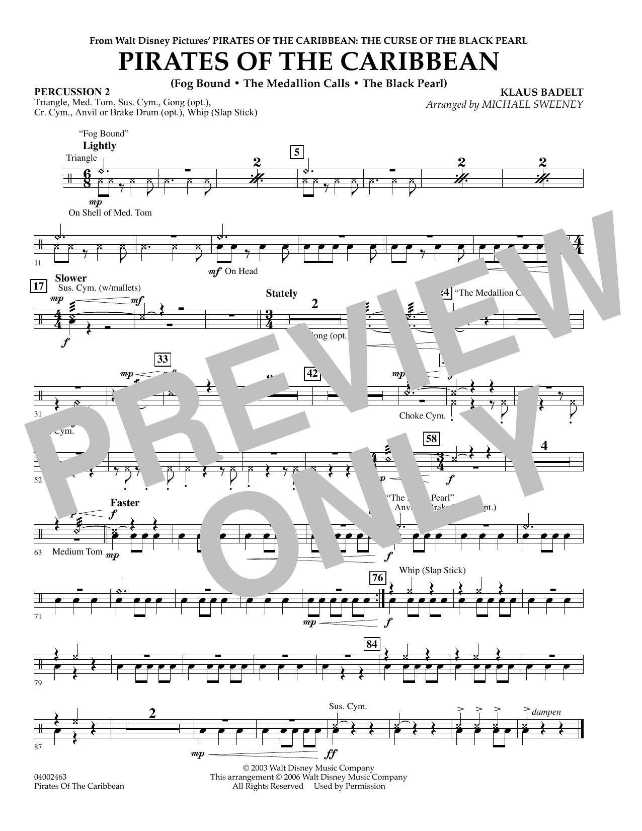 Pirates Of The Caribbean (Flex-Band) - Percussion 2 (Concert Band)