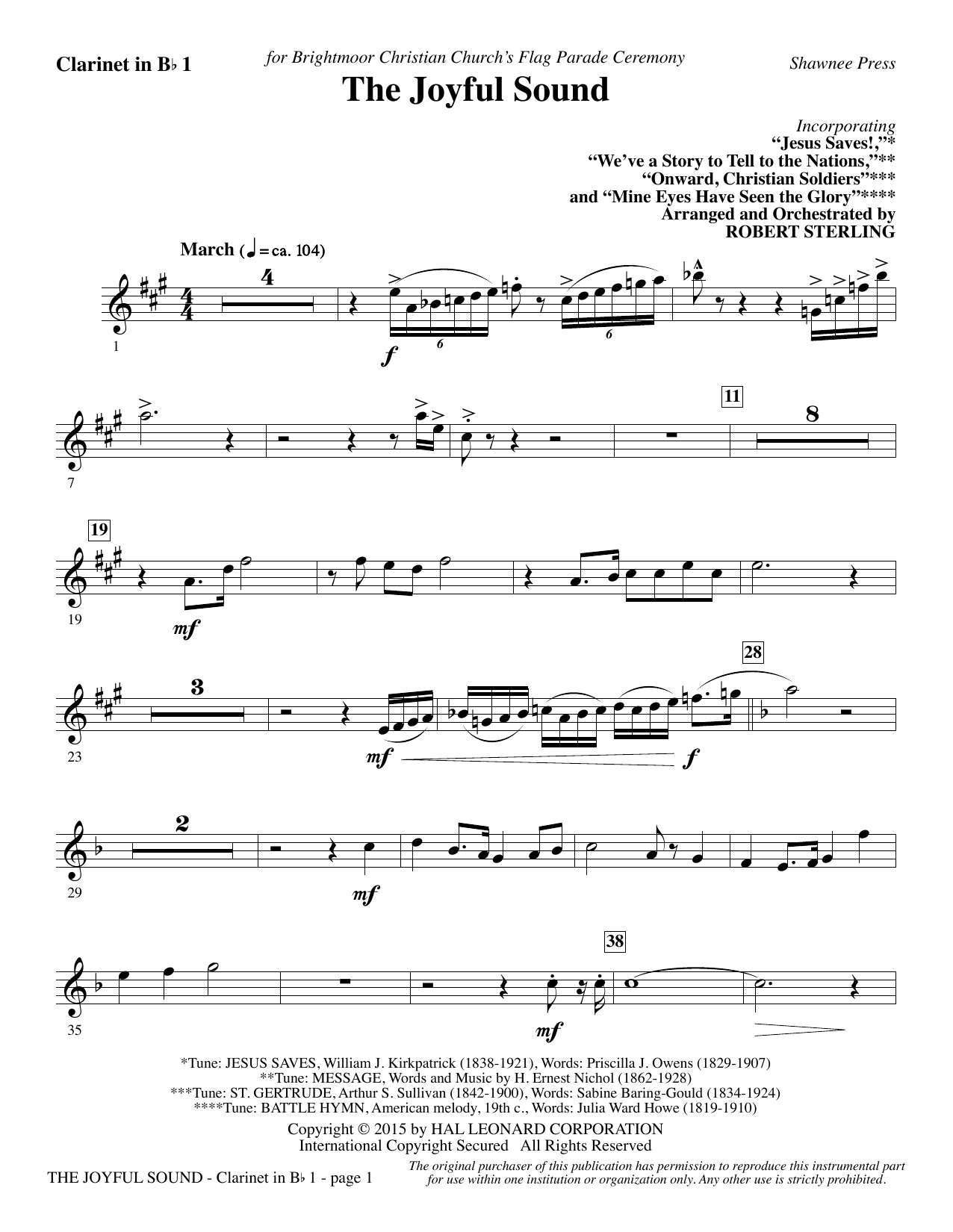 The Joyful Sound - Bb Clarinet 1 Sheet Music