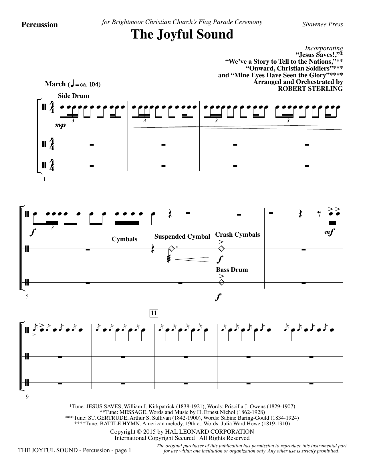 The Joyful Sound - Percussion Sheet Music