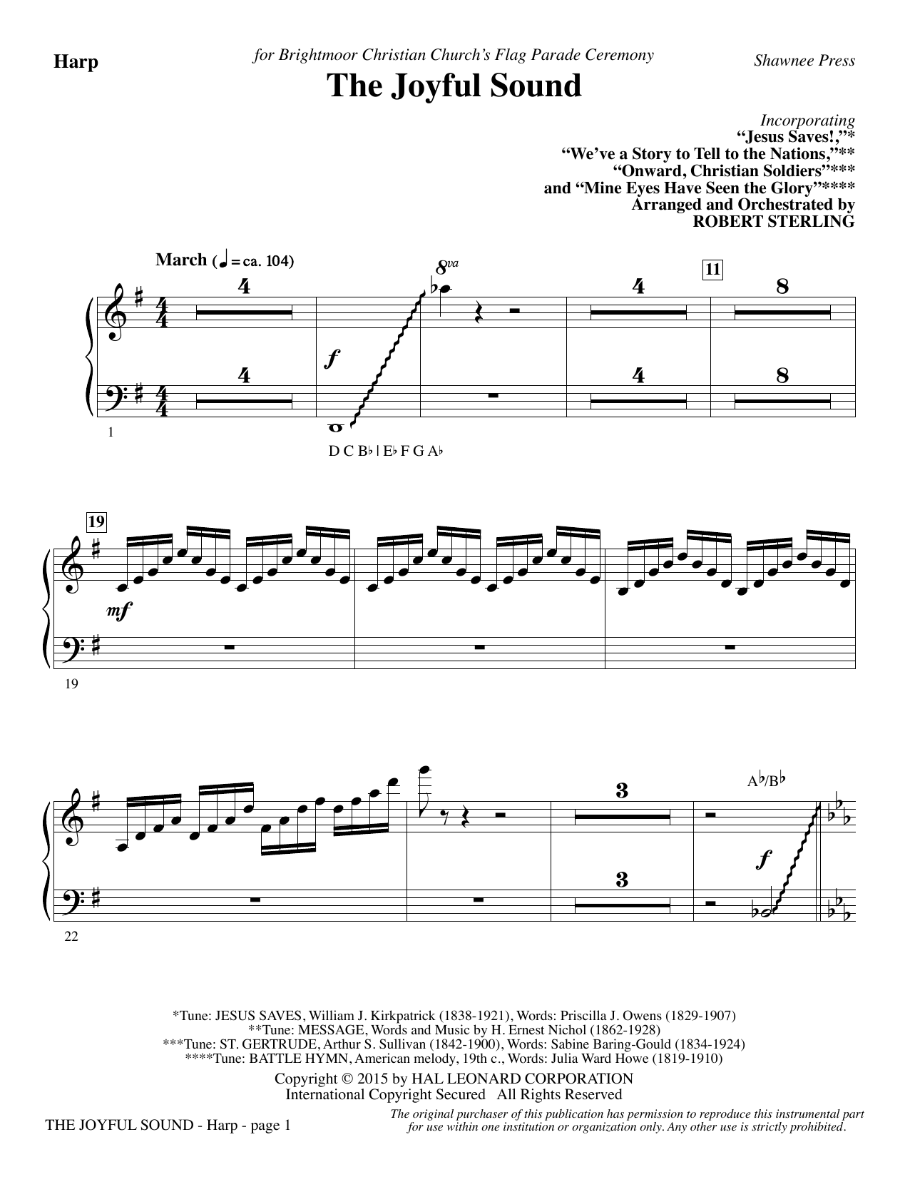 The Joyful Sound - Harp Sheet Music