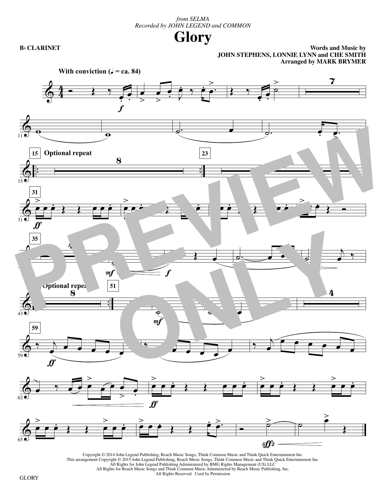 Glory - Clarinet Sheet Music
