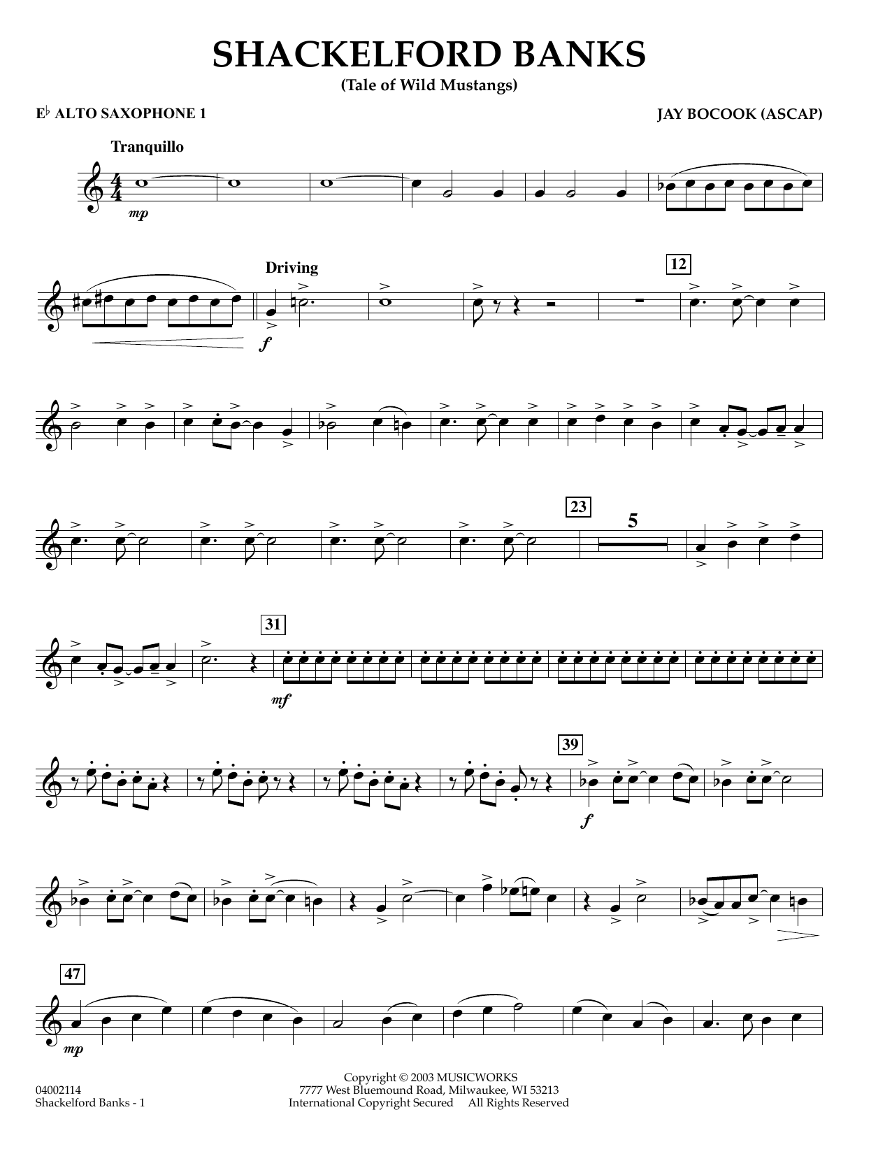 Shackelford Banks - Eb Alto Saxophone 1 (Concert Band)