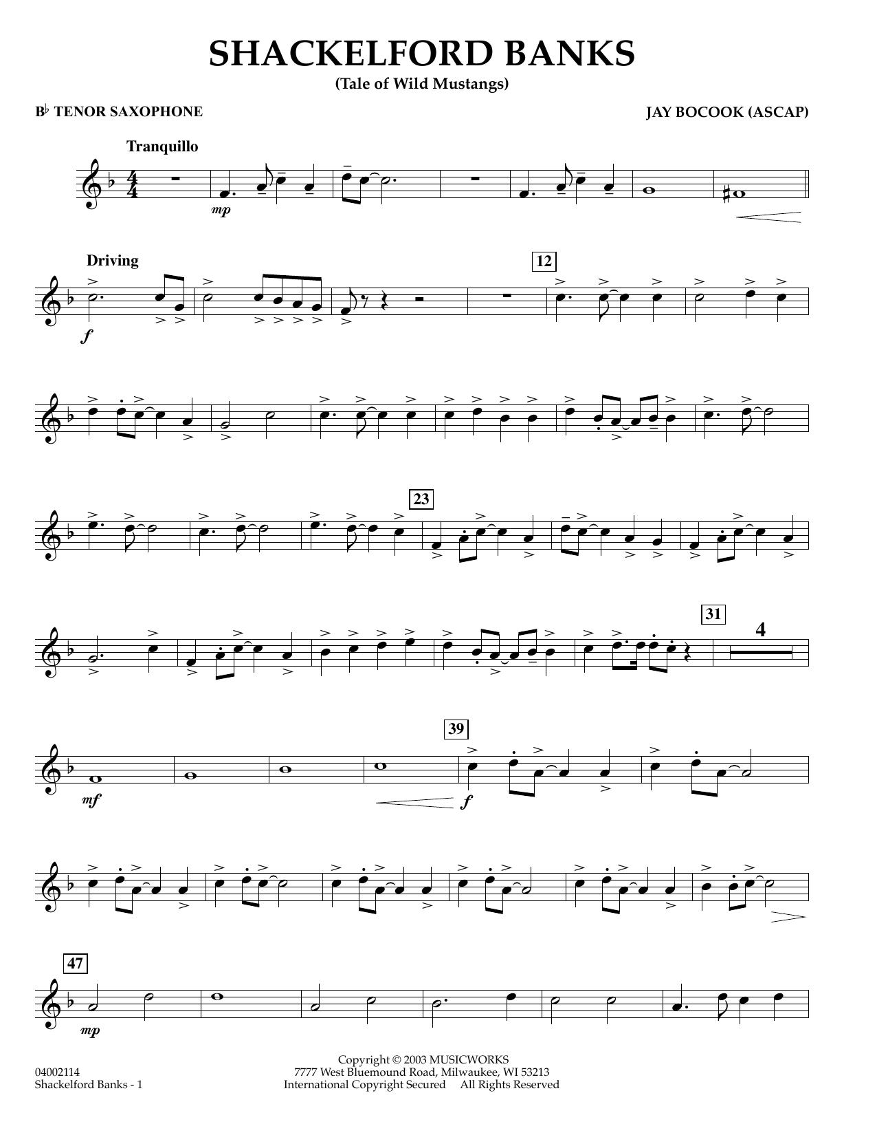 Shackelford Banks - Bb Tenor Saxophone (Concert Band)