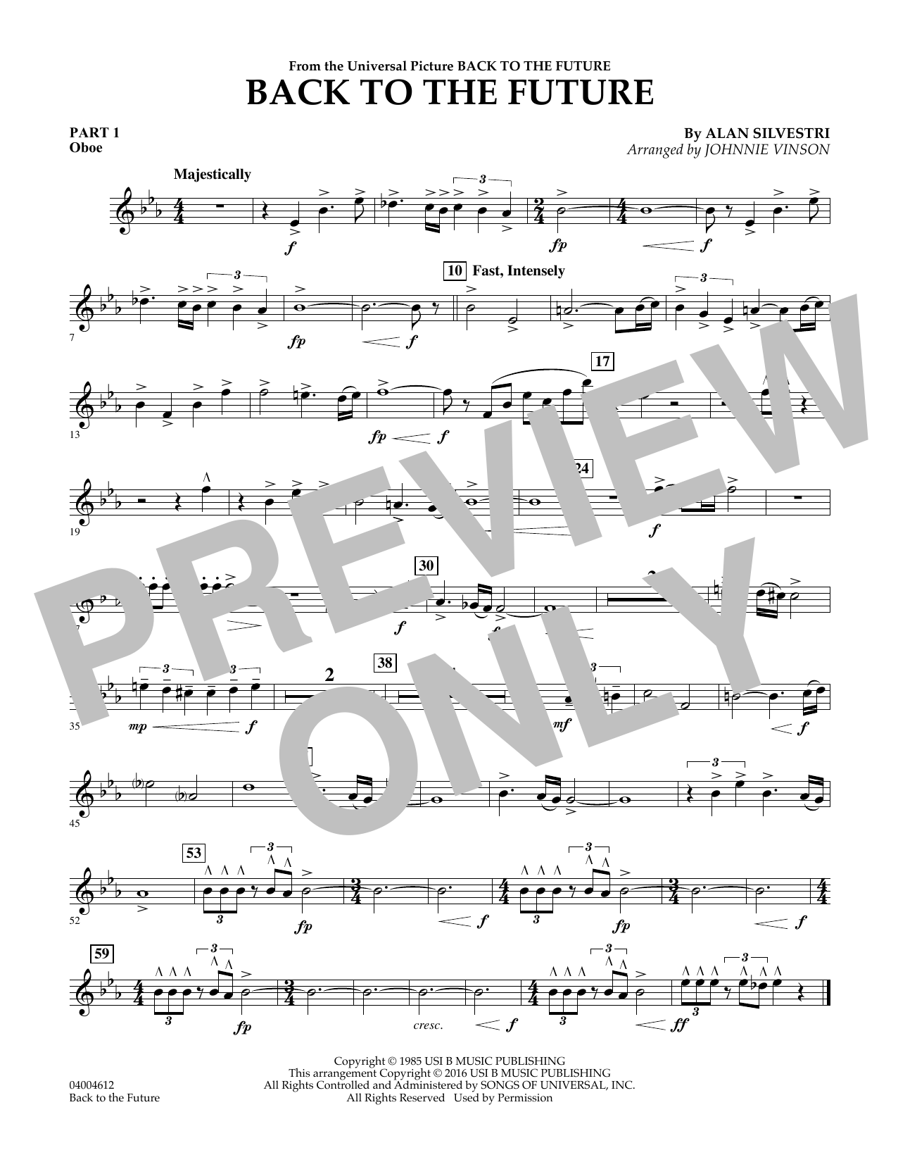 page one of Back to the Future (Main Theme) - Pt.1 - OboeASALTTEXT