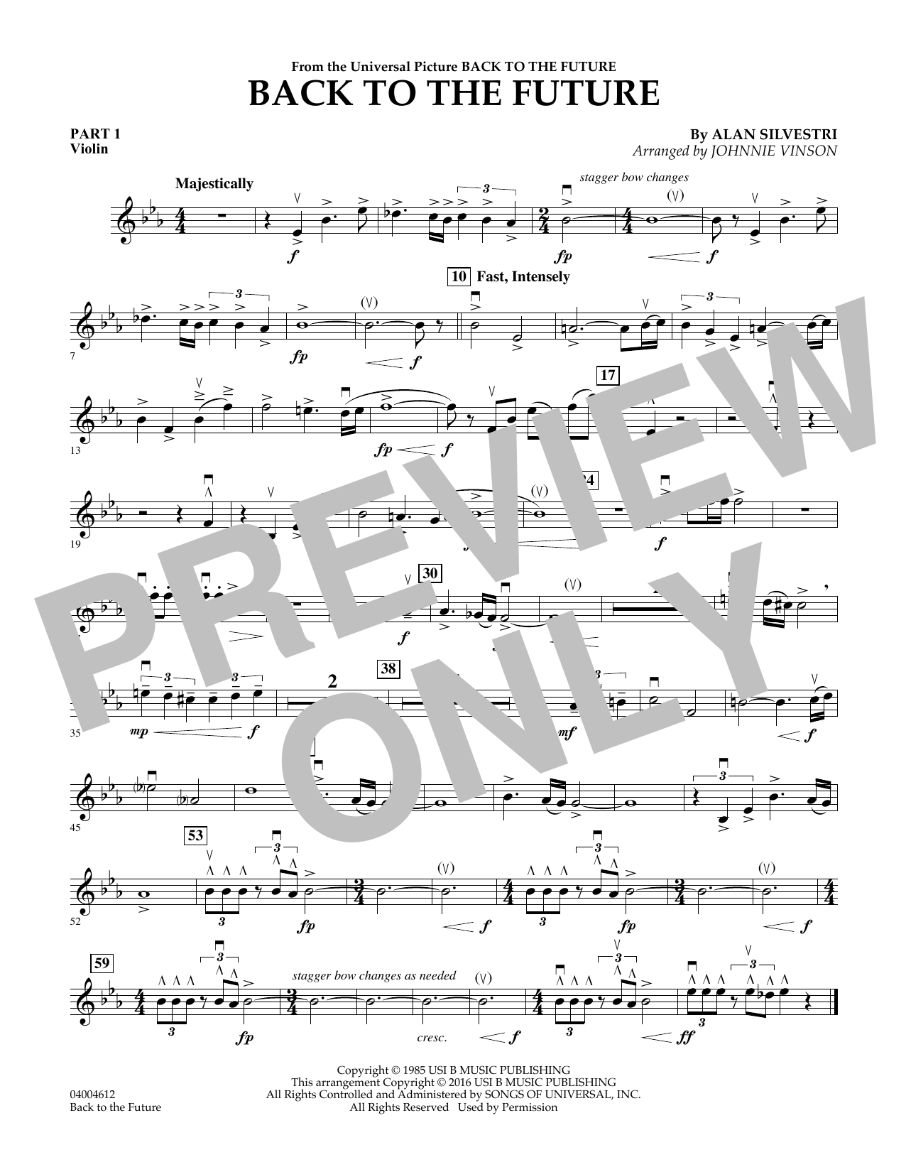 page one of Back to the Future (Main Theme) - Pt.1 - ViolinASALTTEXT