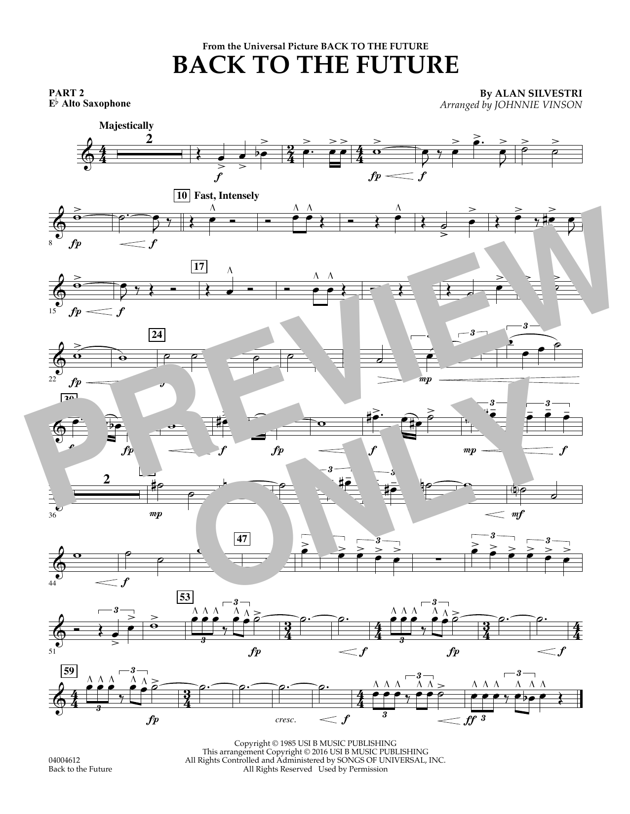 page one of Back to the Future (Main Theme) - Pt.2 - Eb Alto SaxophoneASALTTEXT