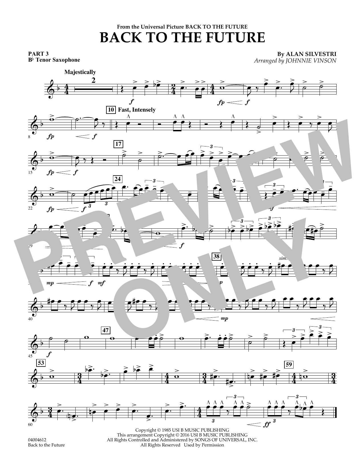 Back to the Future (Main Theme) - Pt.3 - Bb Tenor Saxophone (Concert Band)
