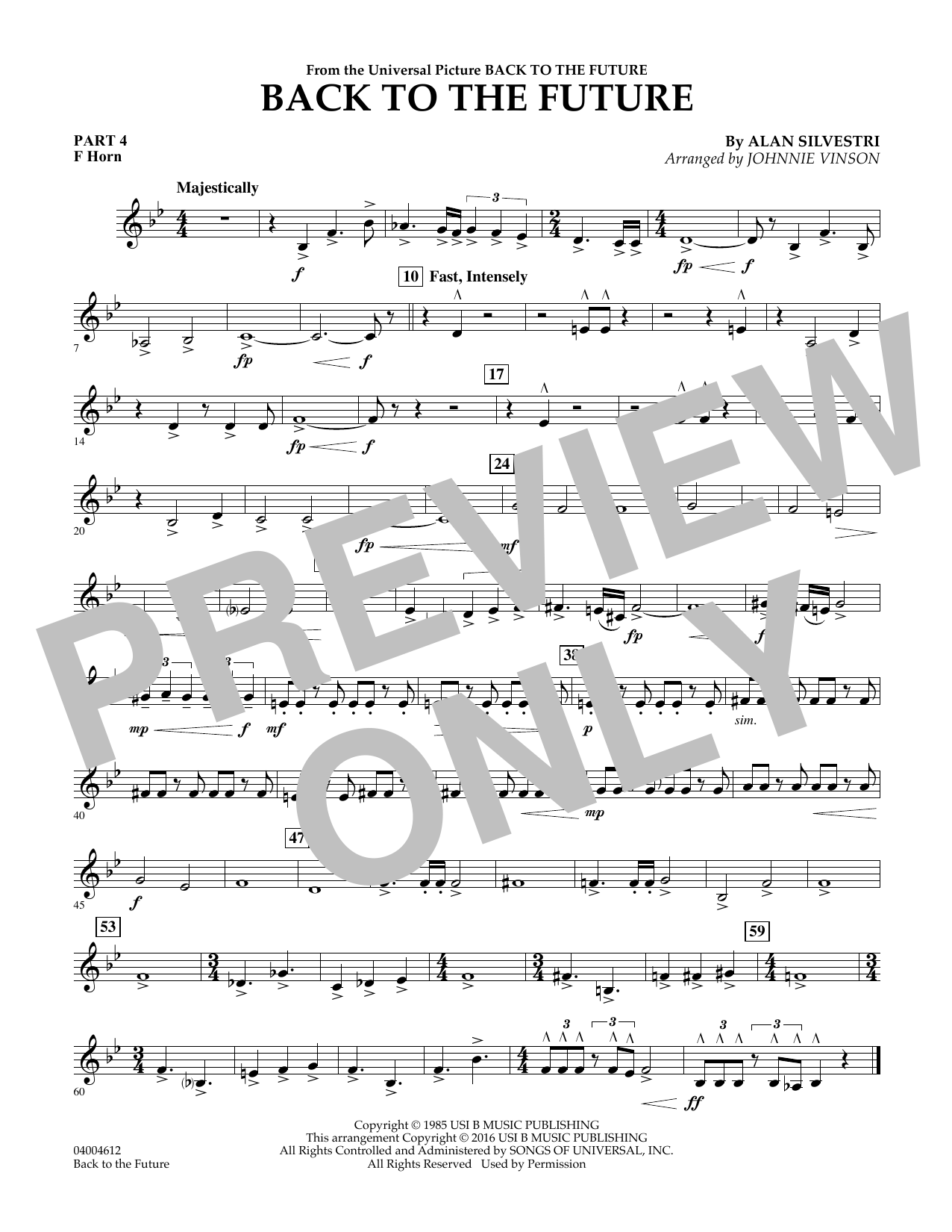 page one of Back to the Future (Main Theme) - Pt.4 - F HornASALTTEXT