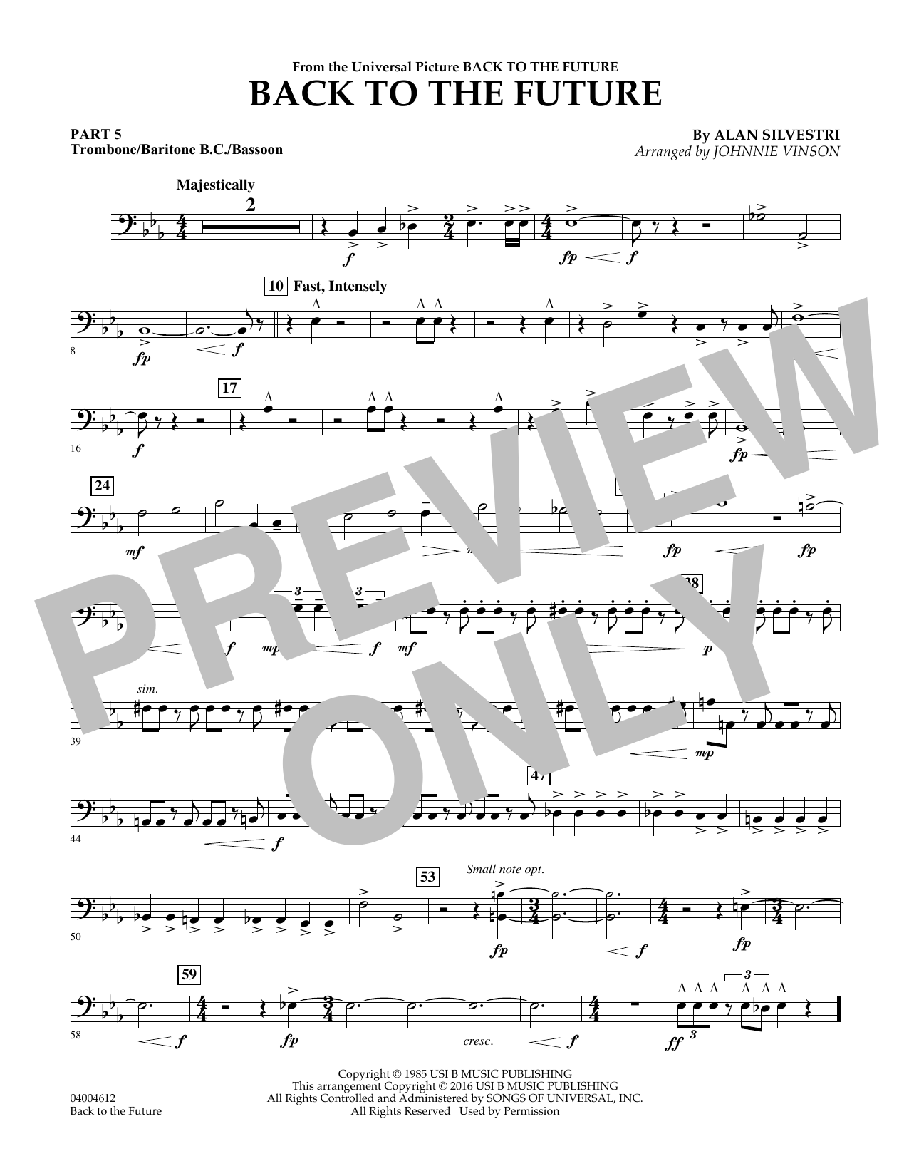 Back to the Future (Main Theme) - Pt.5 - Trombone/Bar. B.C./Bsn. (Concert Band)