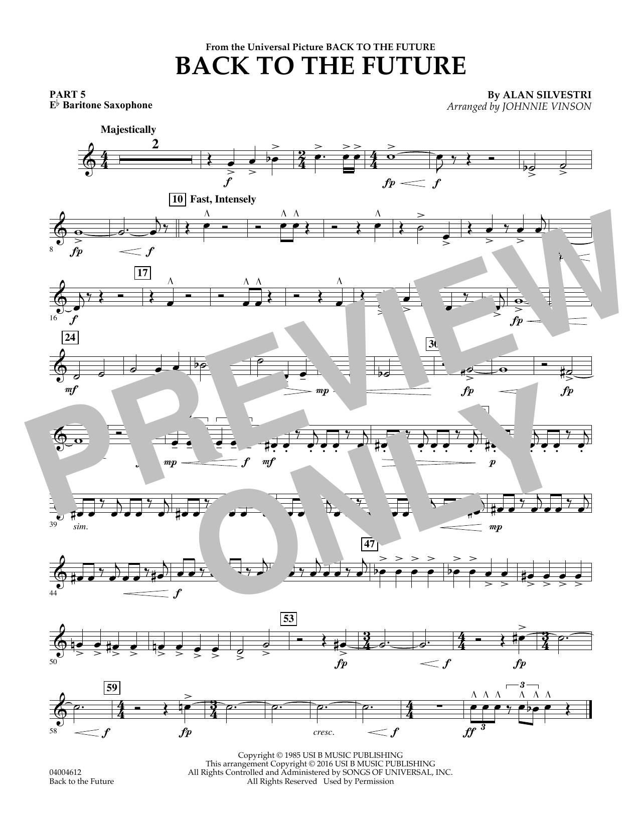 page one of Back to the Future (Main Theme) - Pt.5 - Eb Baritone SaxophoneASALTTEXT