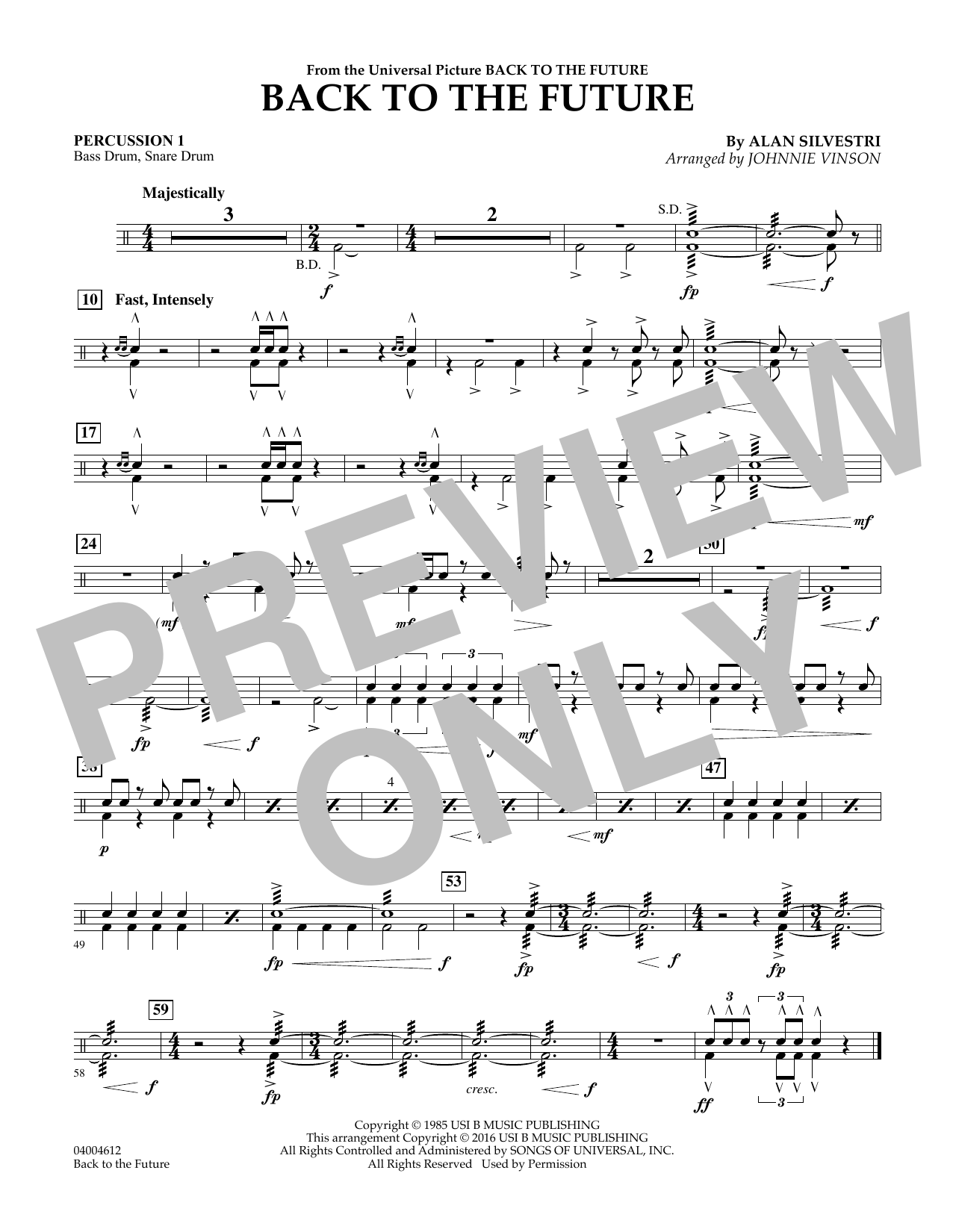 Back to the Future (Main Theme) - Percussion 1 (Flex-Band)