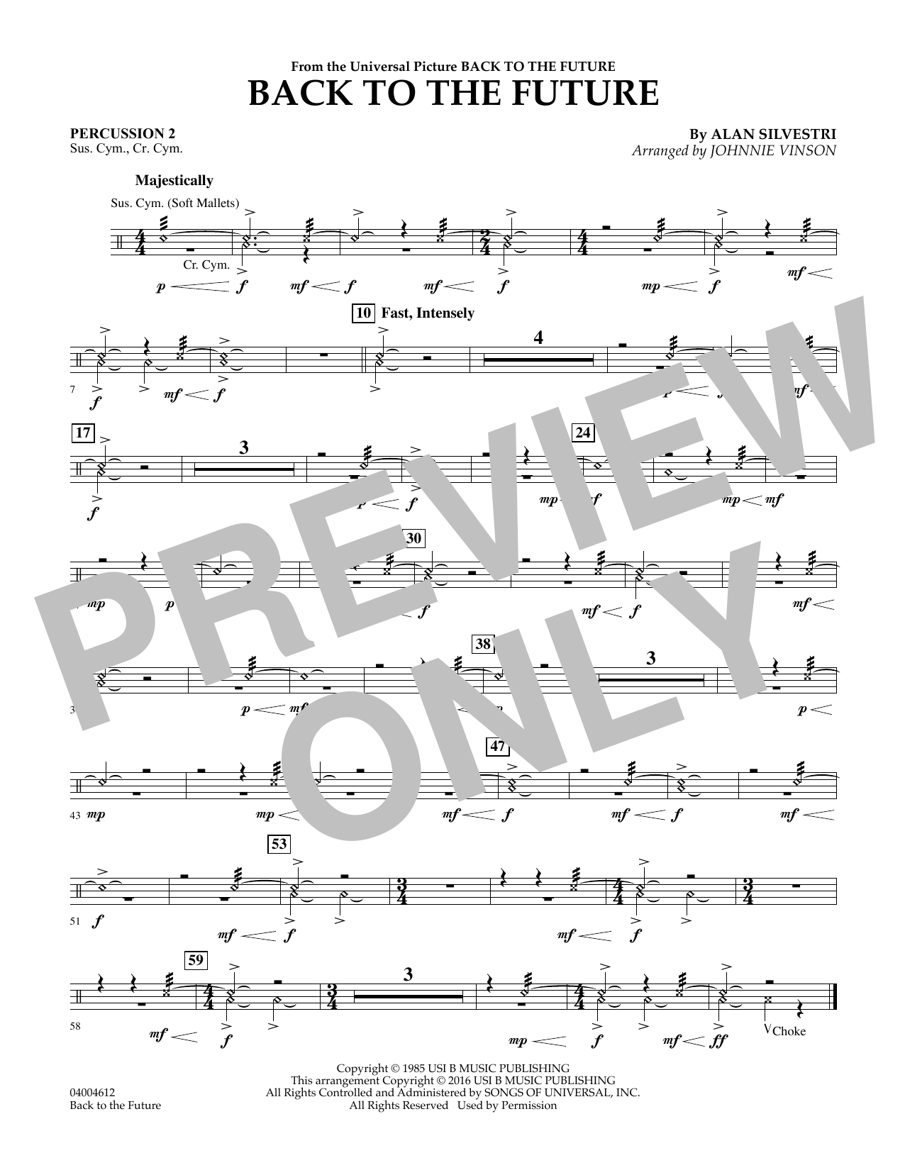 Back to the Future (Main Theme) - Percussion 2 (Concert Band)