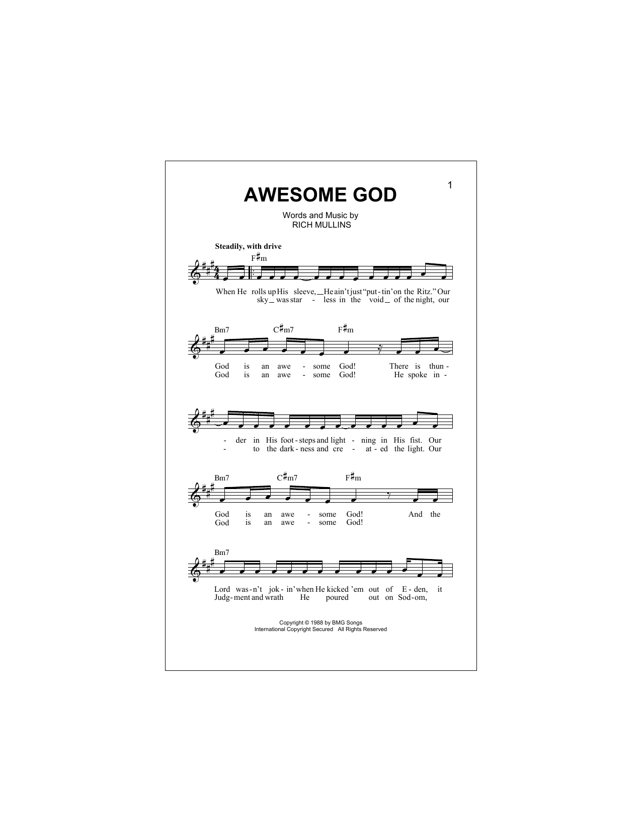 Awesome God Chords By Rich Mullins Melody Line Lyrics Chords