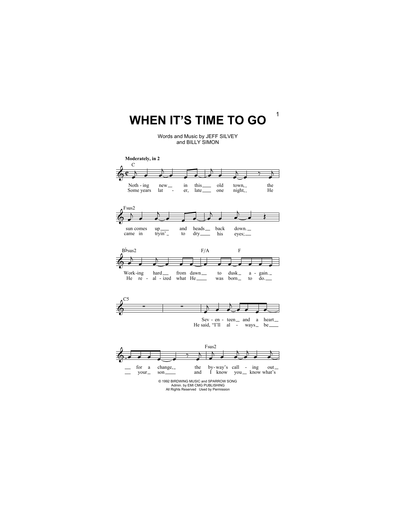 When It's Time To Go (Lead Sheet / Fake Book)