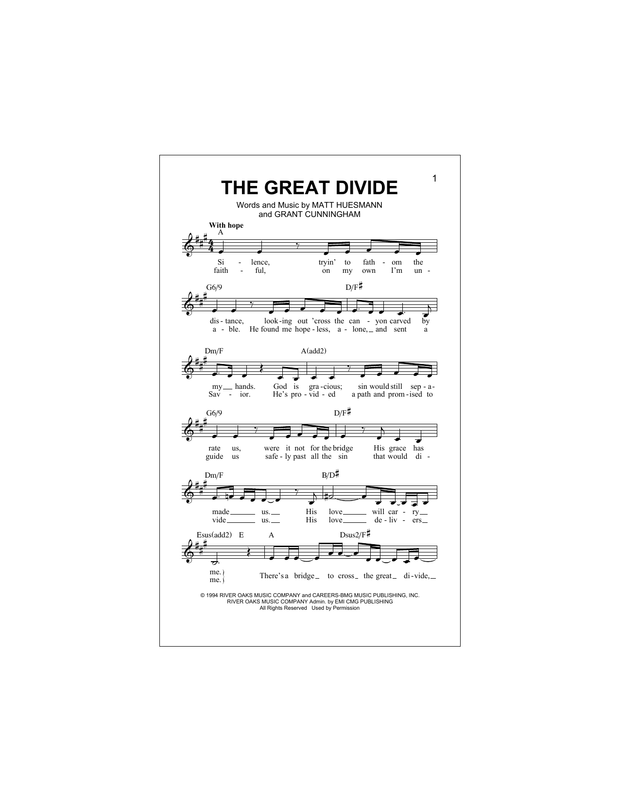 The Great Divide (Lead Sheet / Fake Book)
