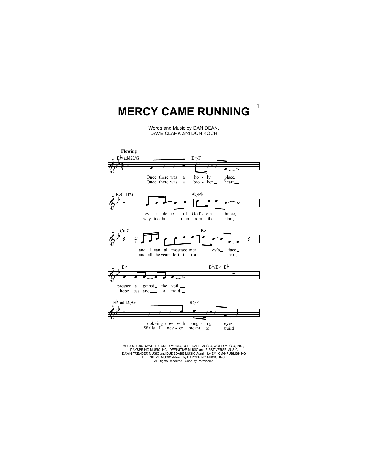 Mercy Came Running (Lead Sheet / Fake Book)