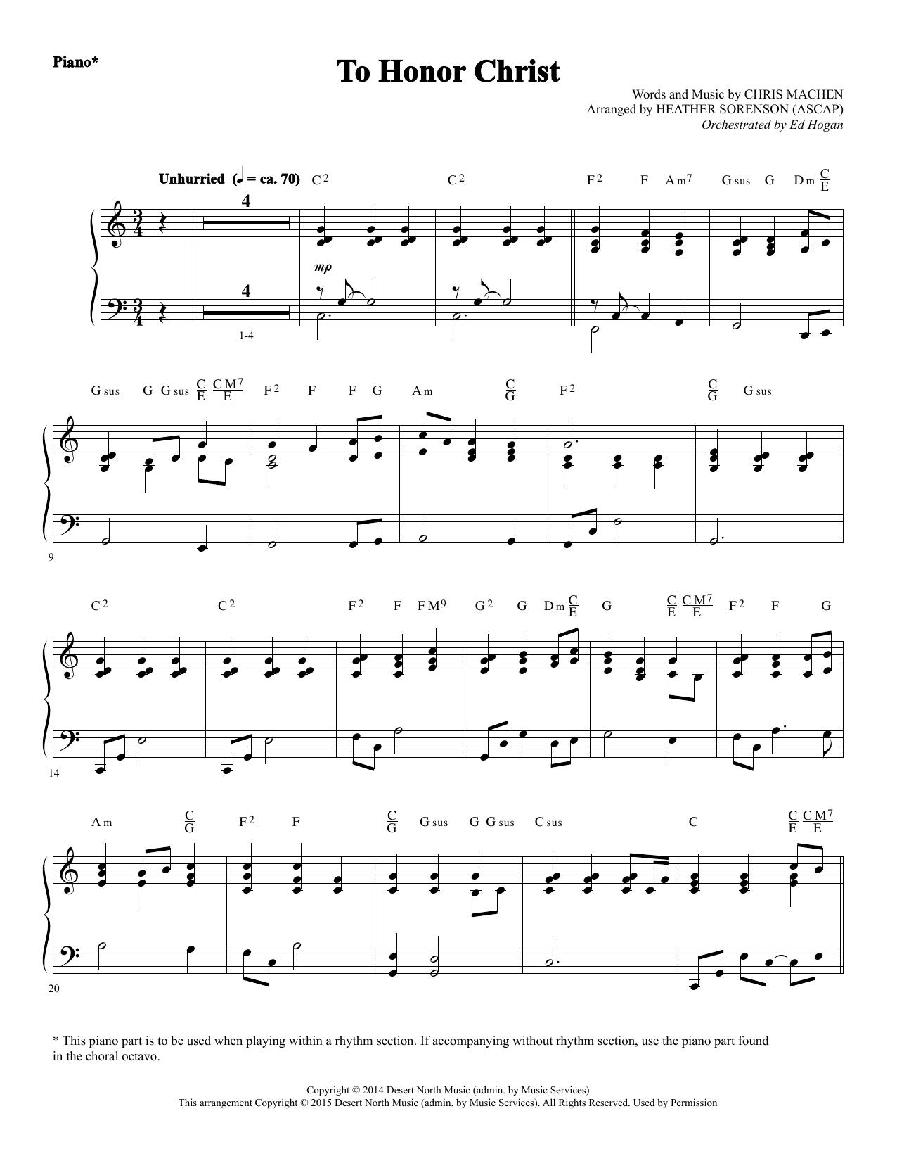 To Honor Christ - Piano Sheet Music
