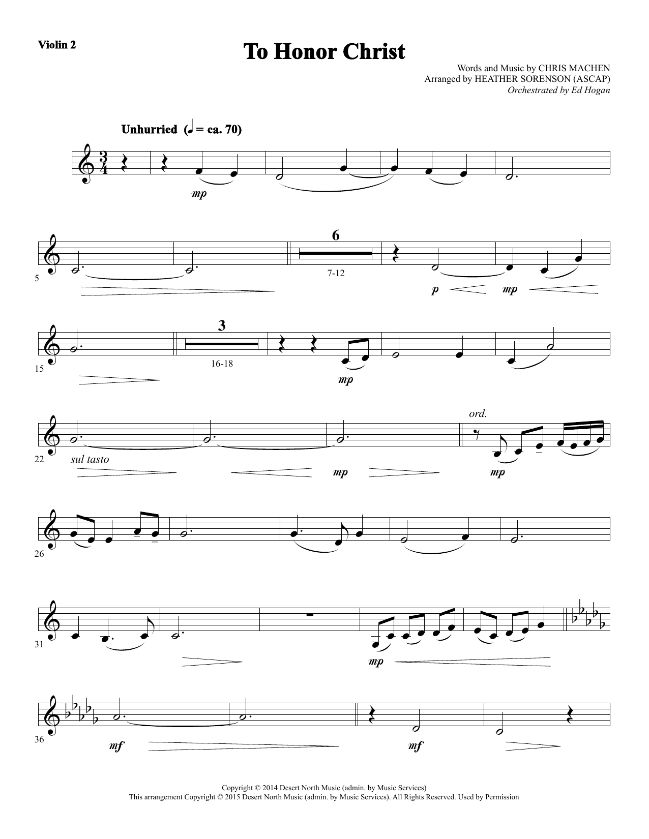 To Honor Christ - Violin 2 Sheet Music