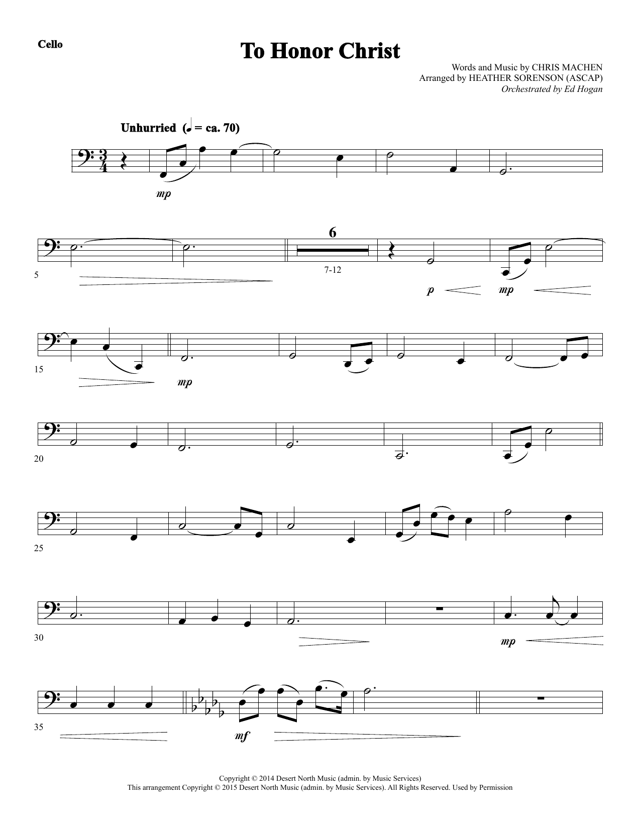 To Honor Christ - Cello Sheet Music