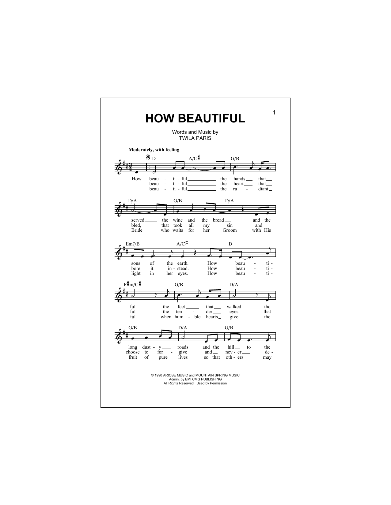 how beautiful twila paris sheet music