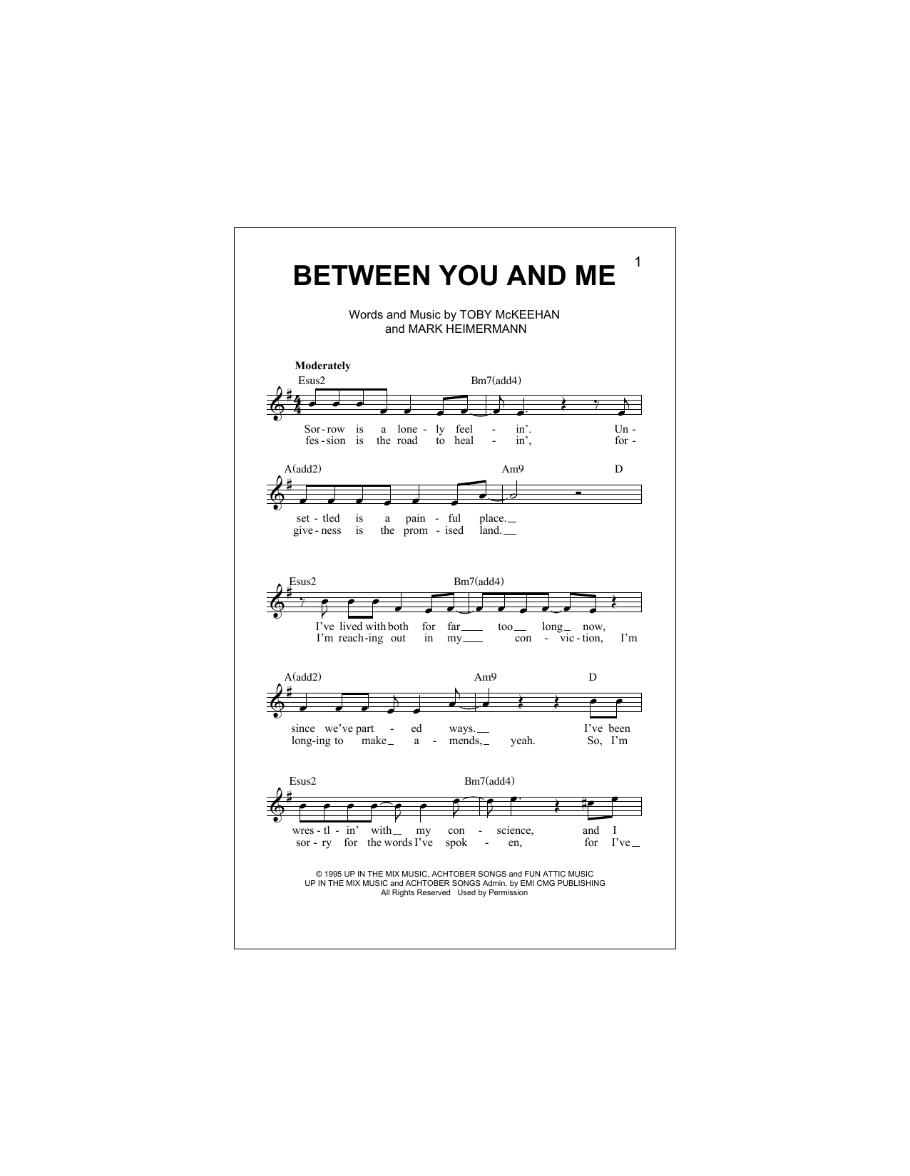 Between You And Me (Lead Sheet / Fake Book)