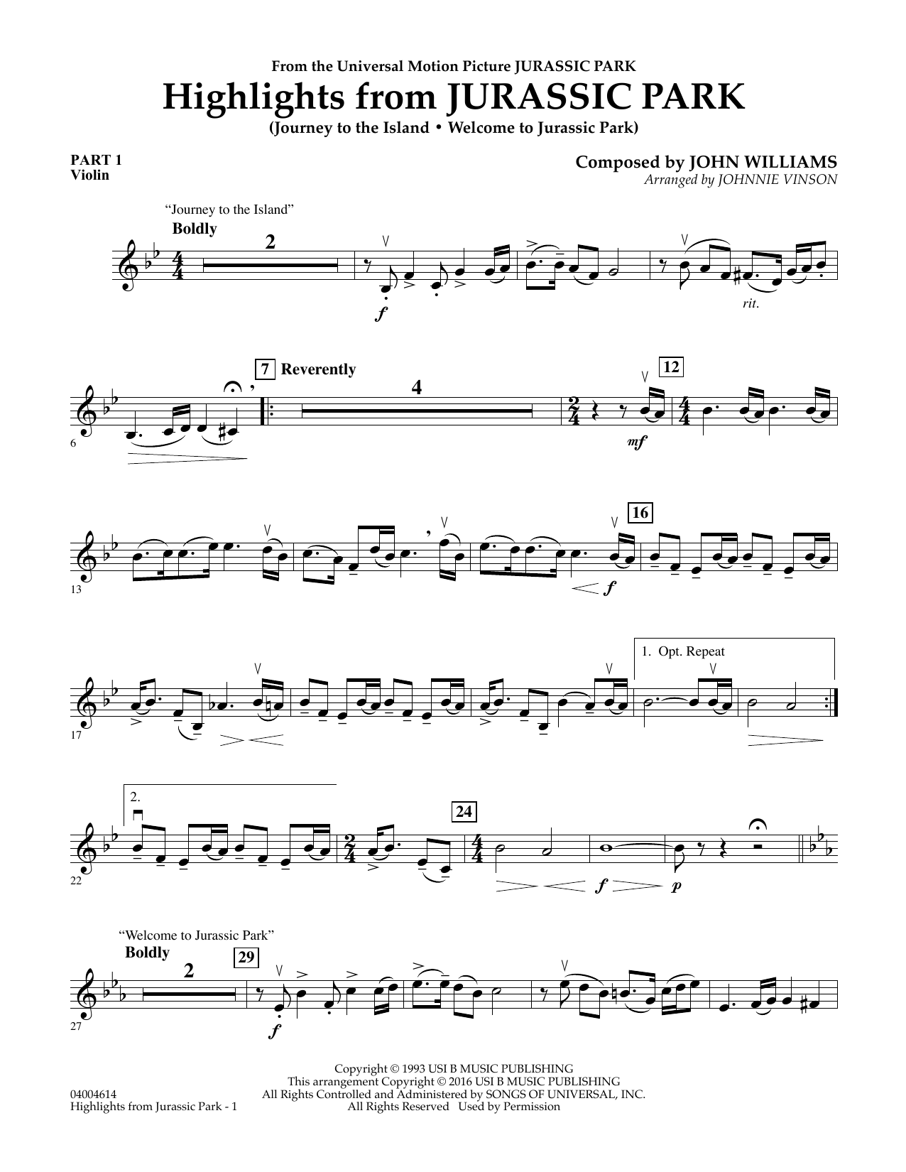 Highlights from Jurassic Park - Pt.1 - Violin (Concert Band: Flex-Band)