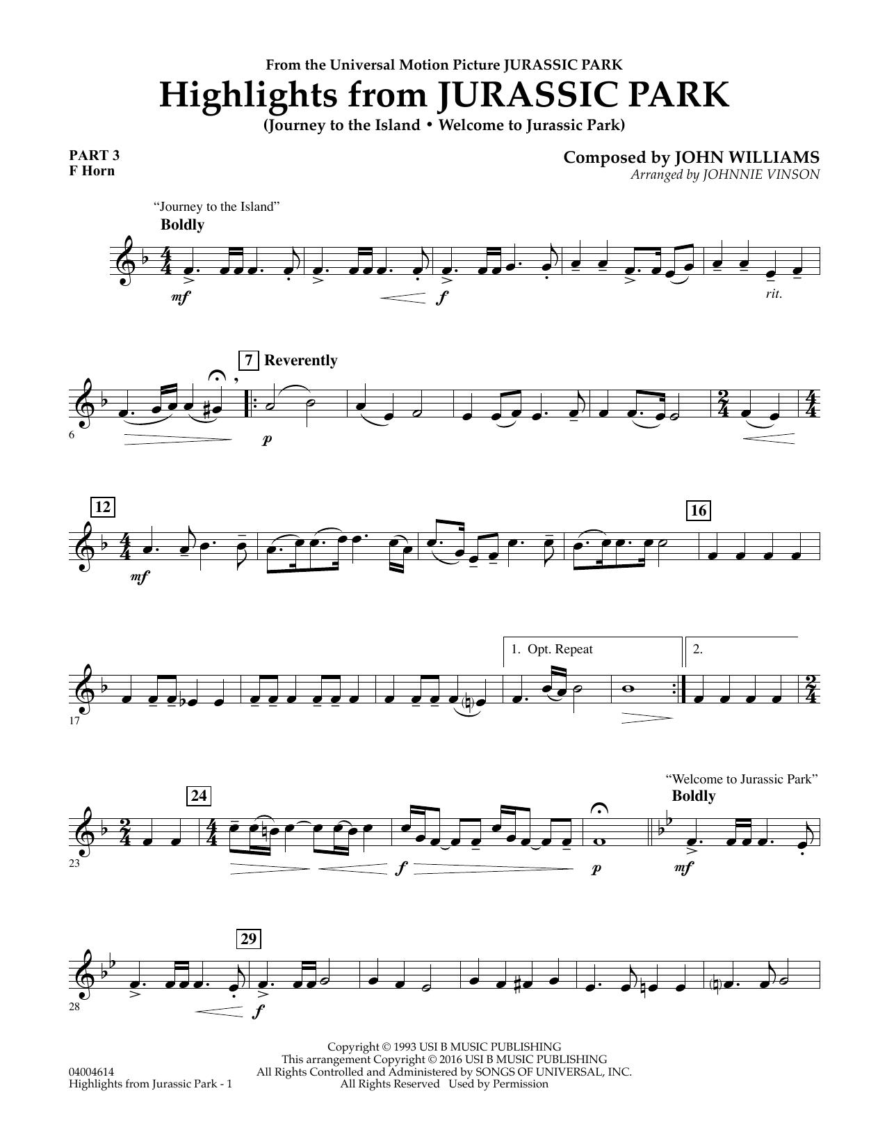 Highlights from Jurassic Park - Pt.3 - F Horn (Concert Band)