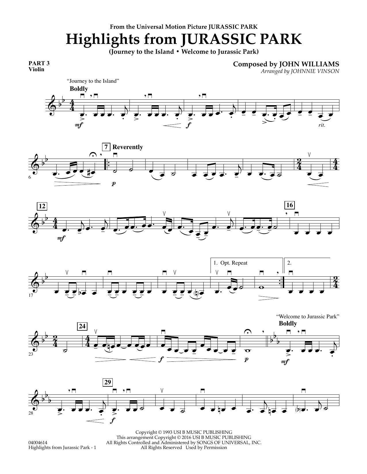 Highlights from Jurassic Park - Pt.3 - Violin (Concert Band)