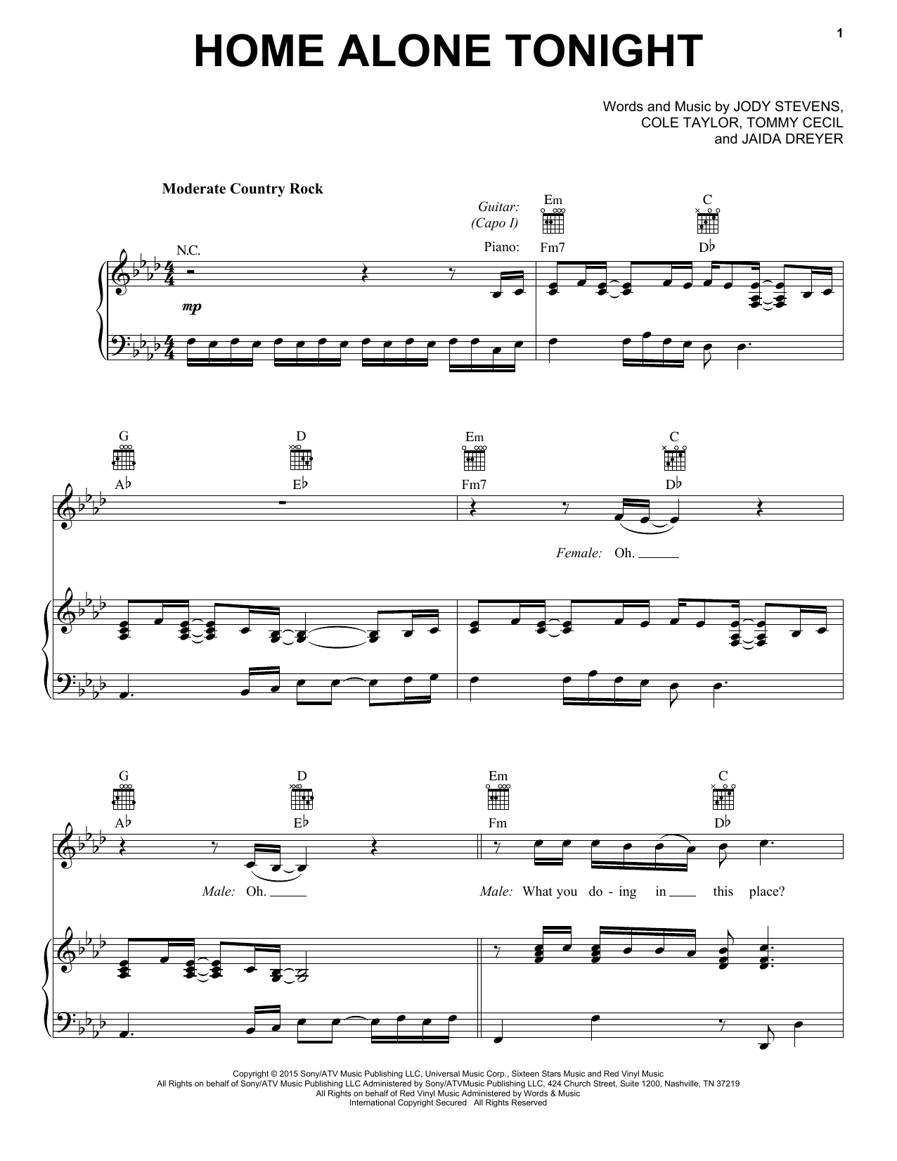 Home Alone Tonight Sheet Music