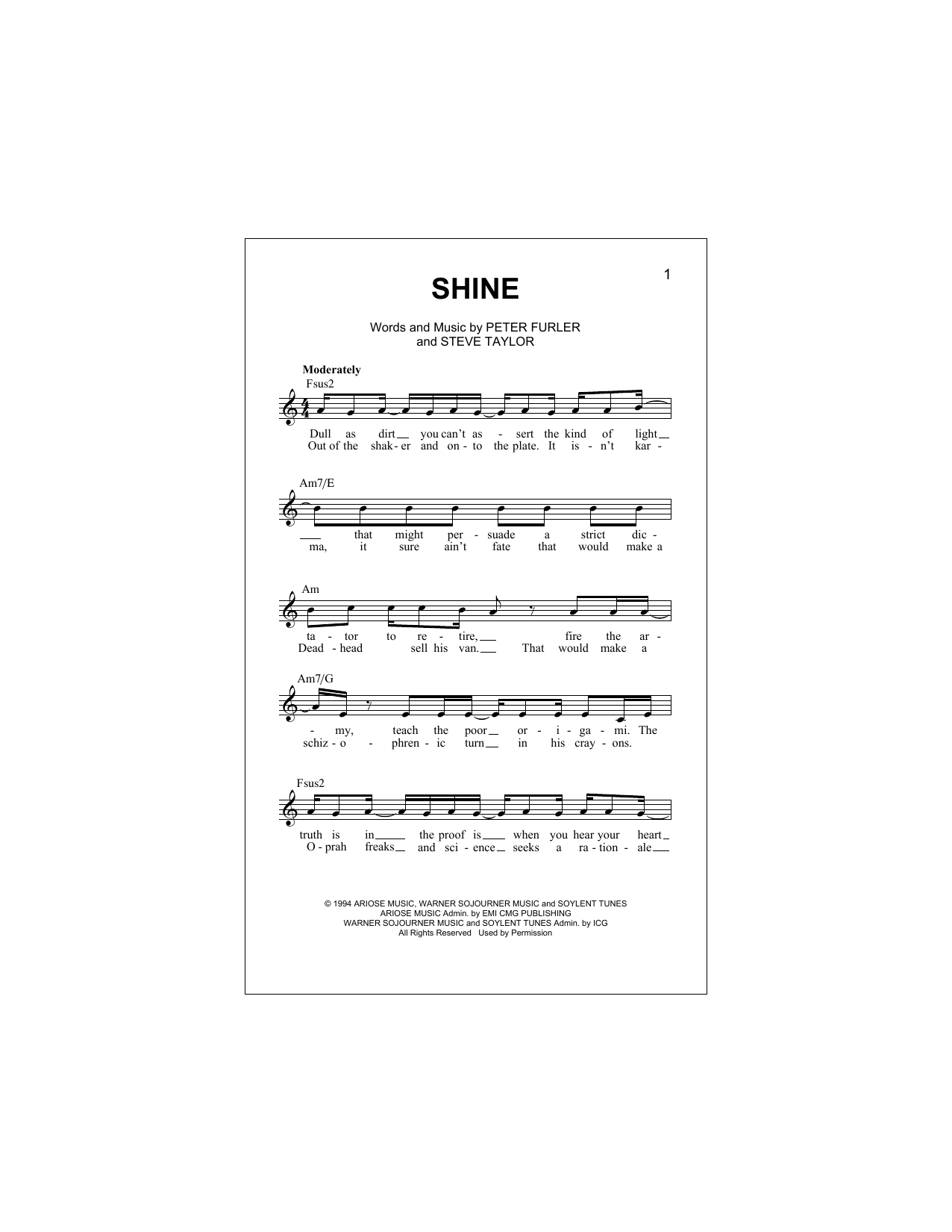 Shine Sheet Music Newsboys Melody Line Lyrics Chords