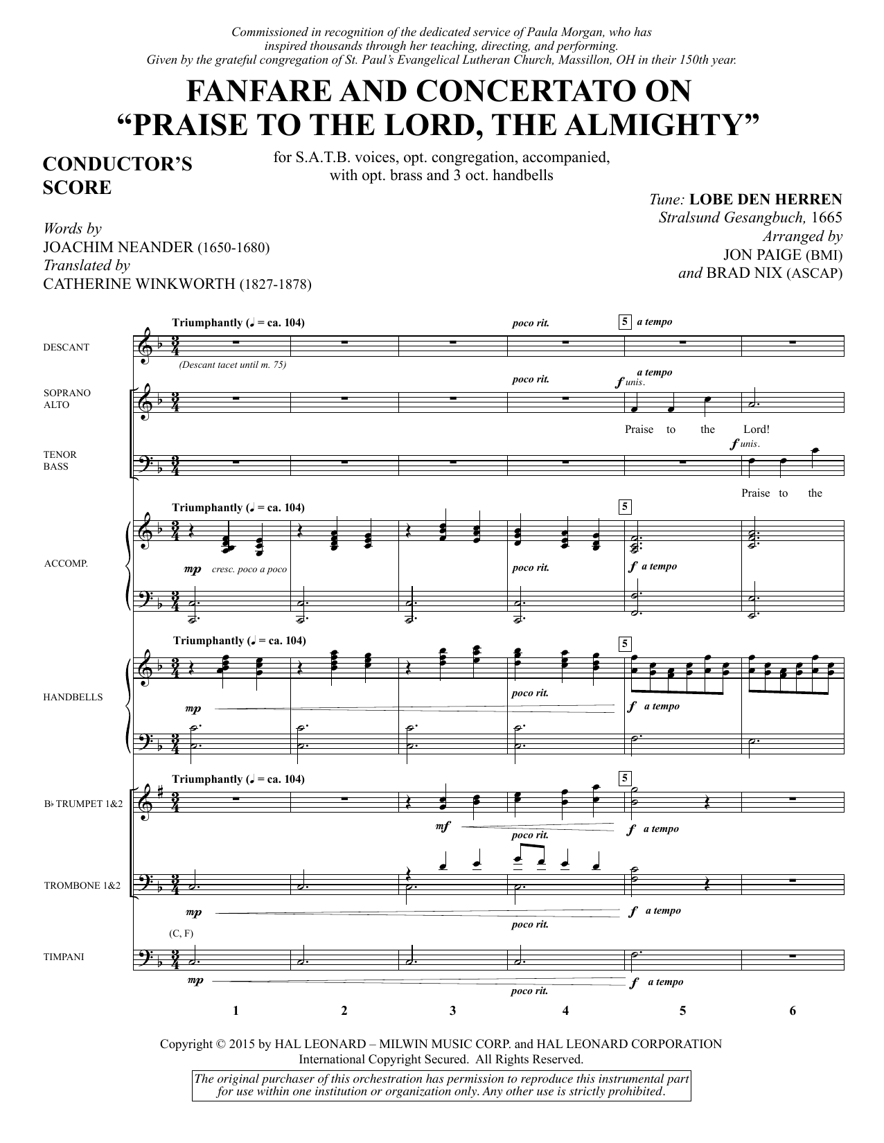 "Fanfare and Concertato on ""Praise to the Lord, the Almighty"" - Full Score Sheet Music"