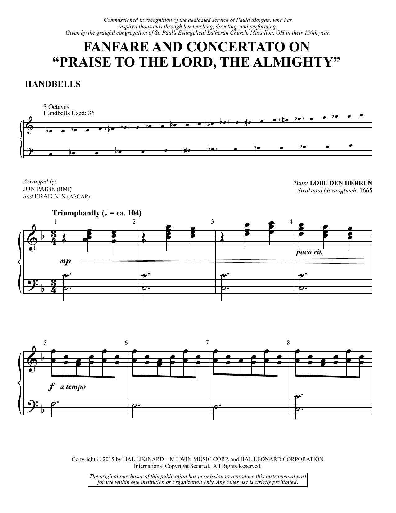"""Fanfare and Concertato on """"Praise to the Lord, the Almighty"""" - Handbells (Choir Instrumental Pak)"""