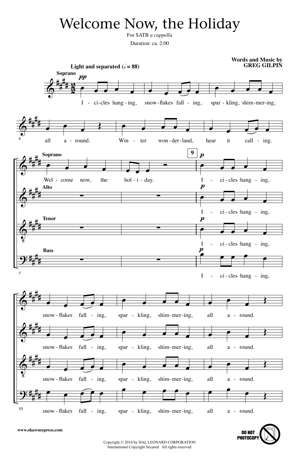 Partition chorale Welcome Now, The Holiday de Greg Gilpin - SATB