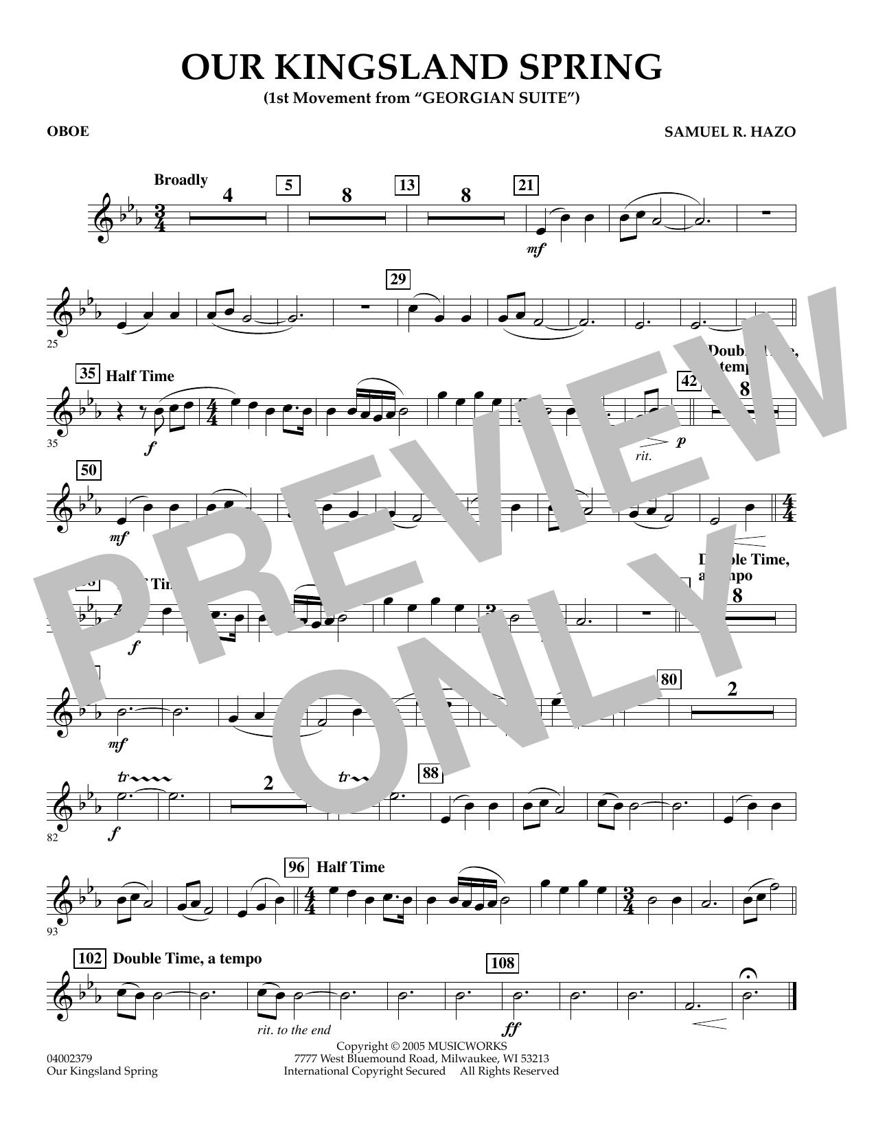 "Our Kingsland Spring (Movement I of ""Georgian Suite"") - Oboe (Concert Band)"