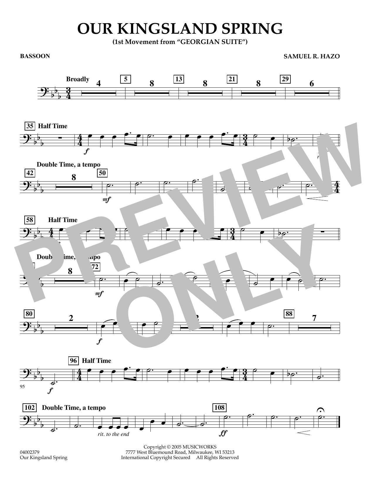 """Our Kingsland Spring (Movement I of """"Georgian Suite"""") - Bassoon (Concert Band)"""
